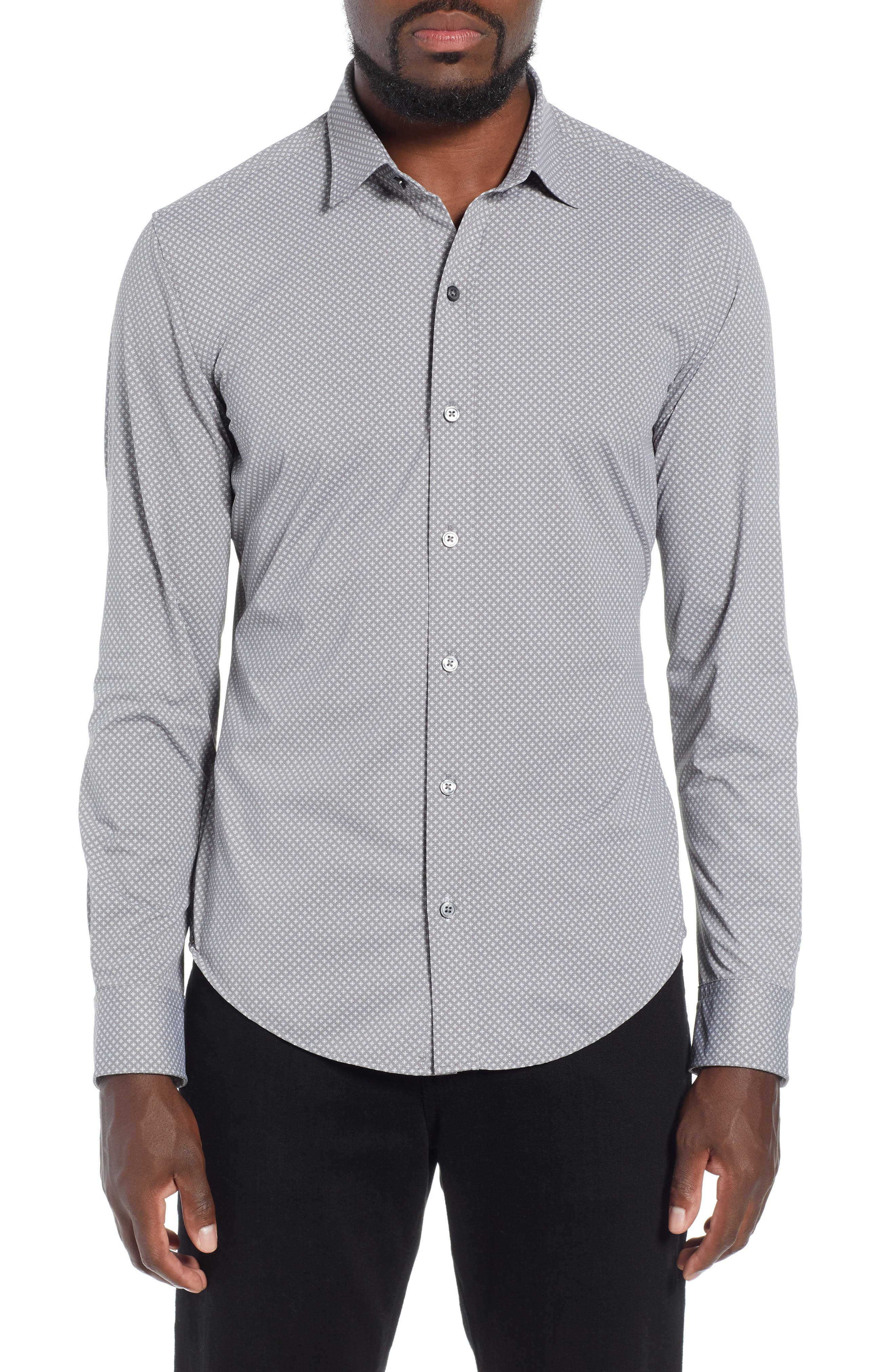 Robbie Extra Trim Fit Microprint Sport Shirt,                         Main,                         color, GREY