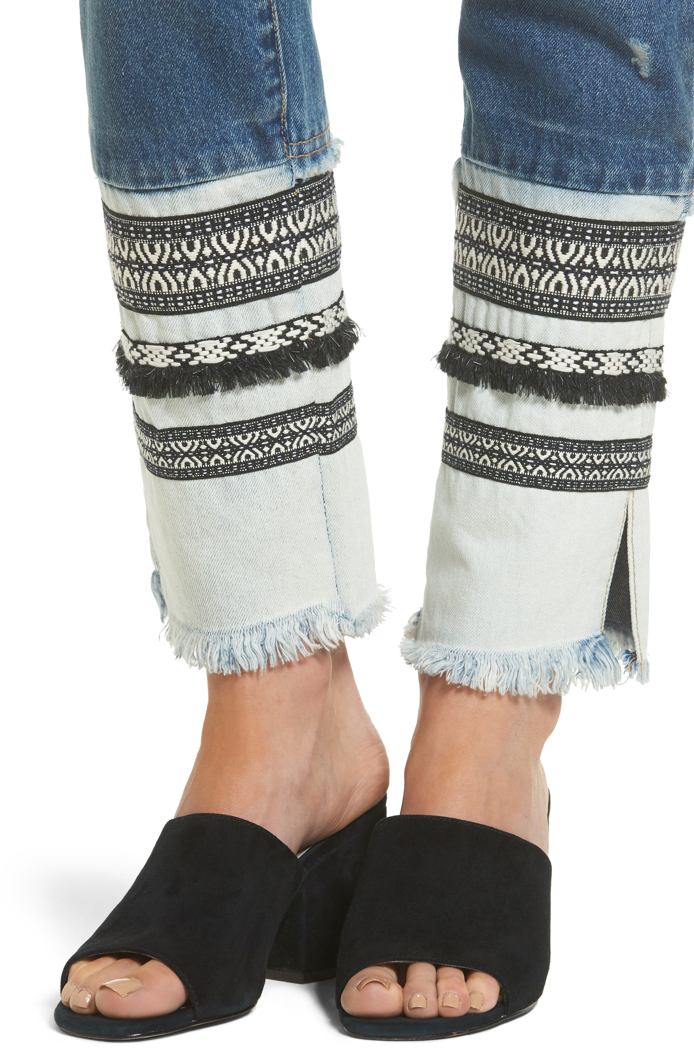 Embellished Straight Leg Jeans,                             Alternate thumbnail 4, color,                             400