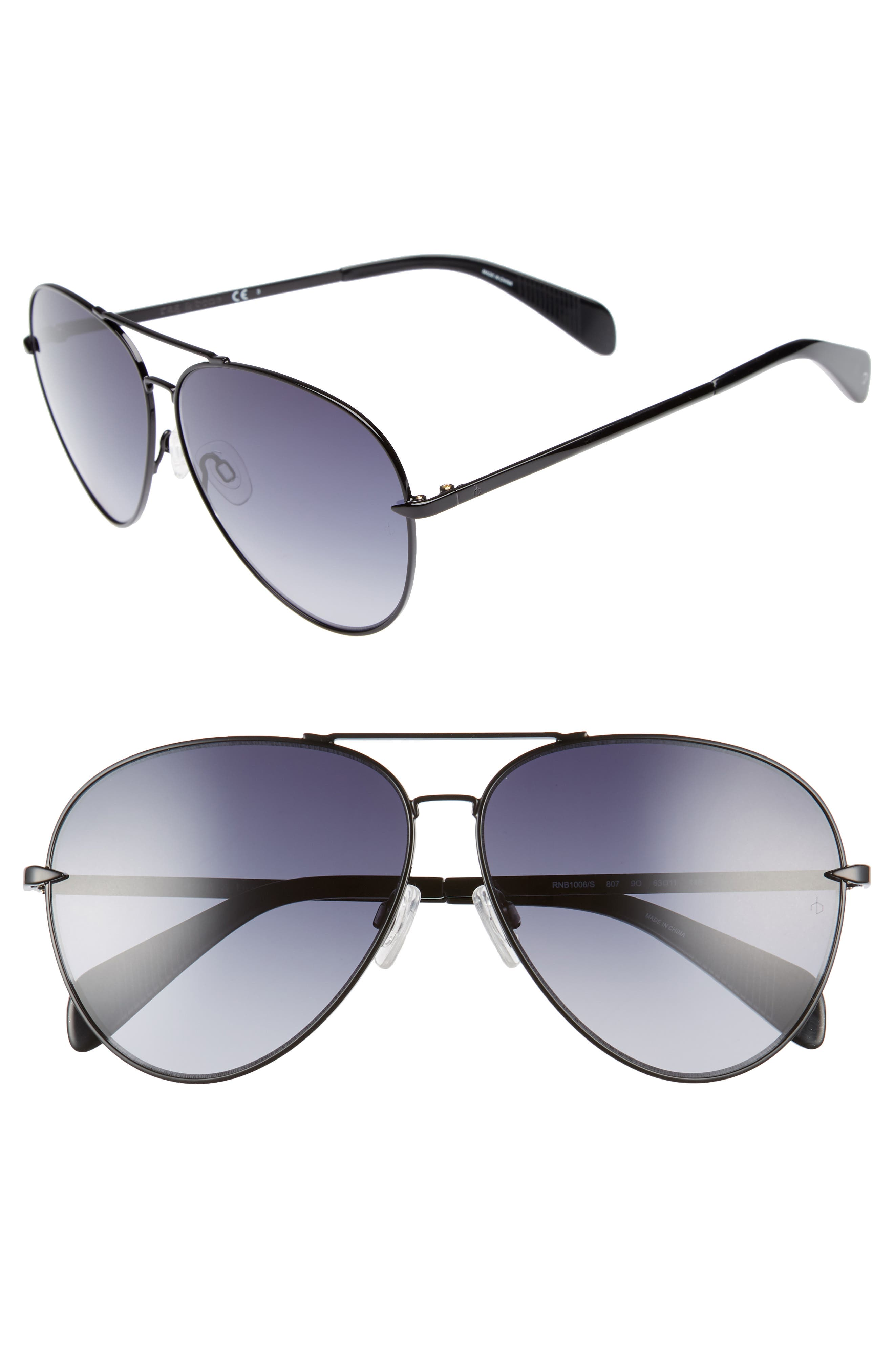 RAG & BONE 63mm Oversize Aviator Sunglasses, Main, color, BLACK