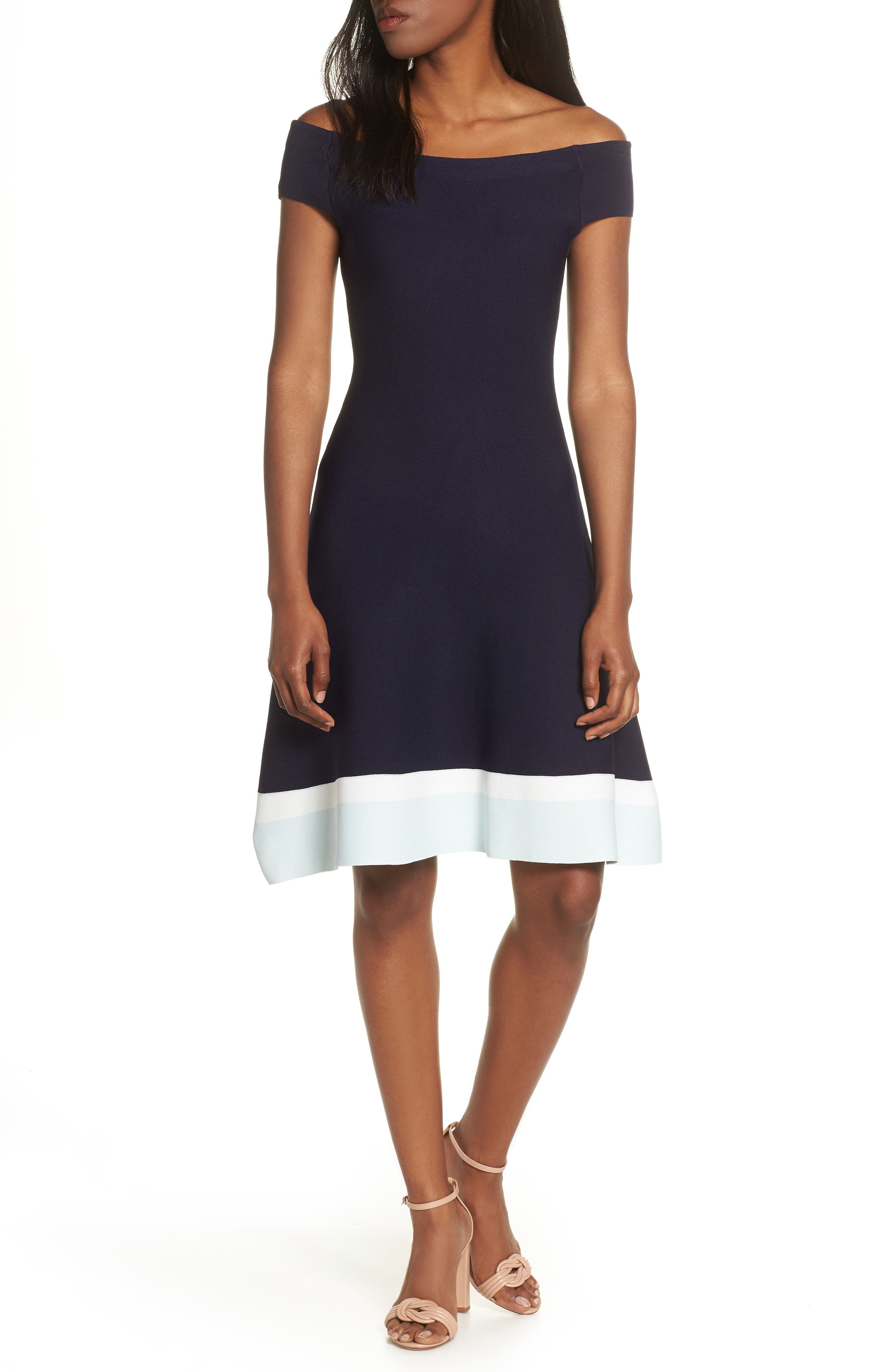 ELIZA J,                             Fit & Flare Knit Dress,                             Main thumbnail 1, color,                             BABY BLUE MULTI