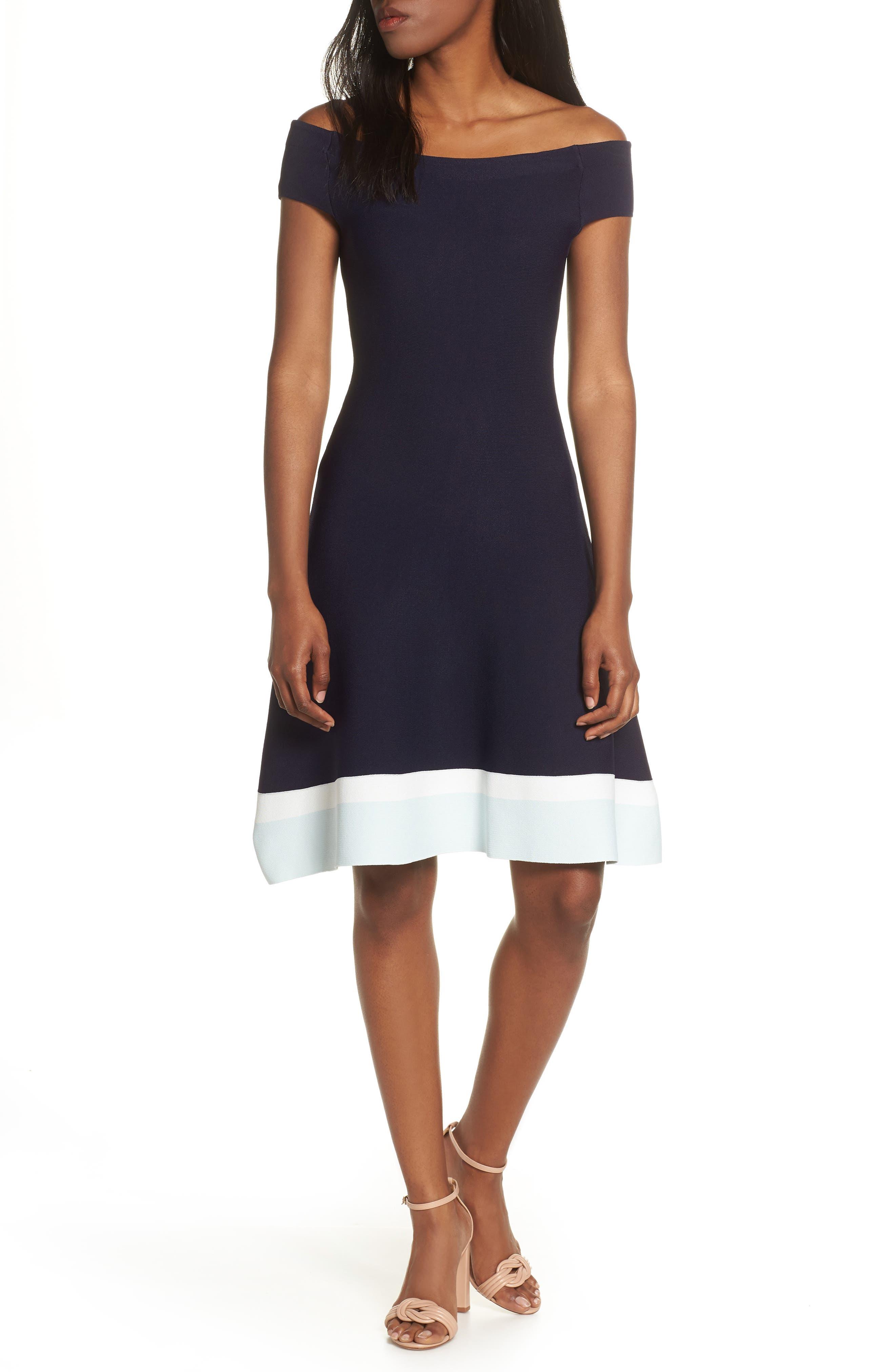 ELIZA J Fit & Flare Knit Dress, Main, color, BABY BLUE MULTI