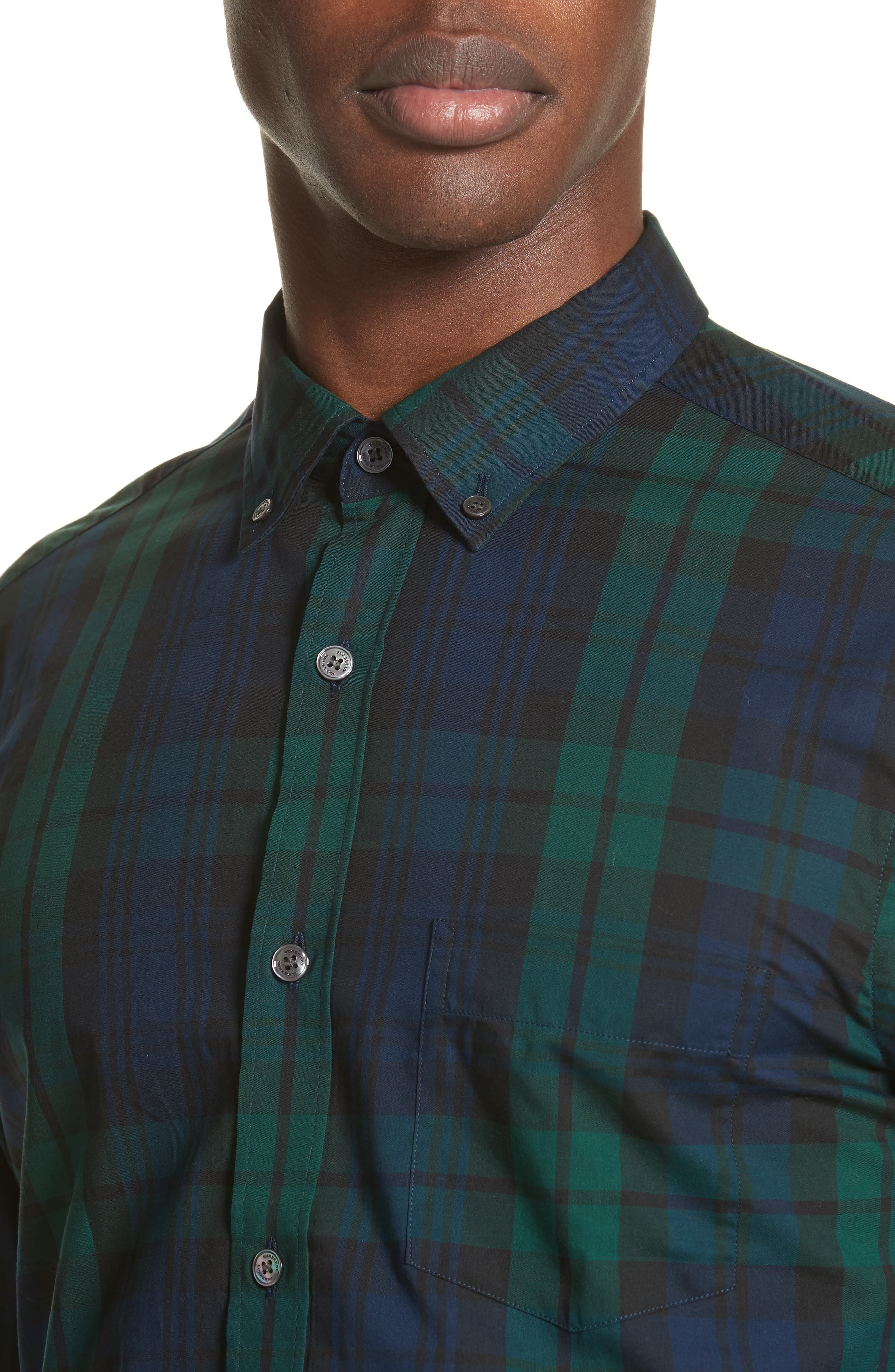 Salwick Tartan Plaid Sport Shirt,                             Alternate thumbnail 4, color,                             410