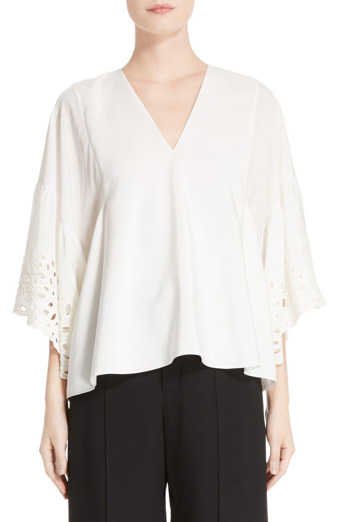 Palm Lace Silk Blouse,                         Main,                         color, 900