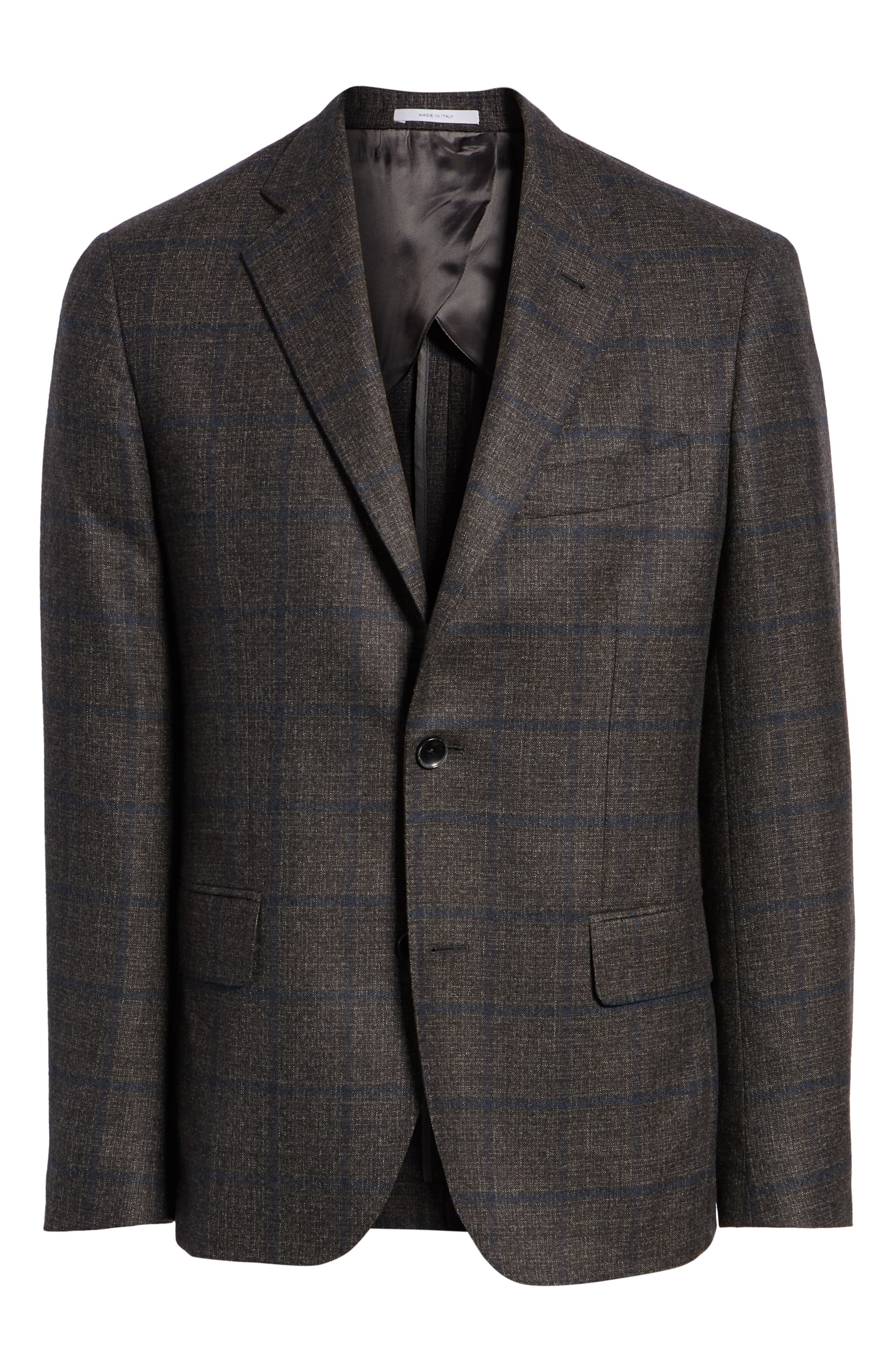 Trim Fit Windowpane Wool Sport Coat,                             Alternate thumbnail 5, color,                             DARK TAUPE