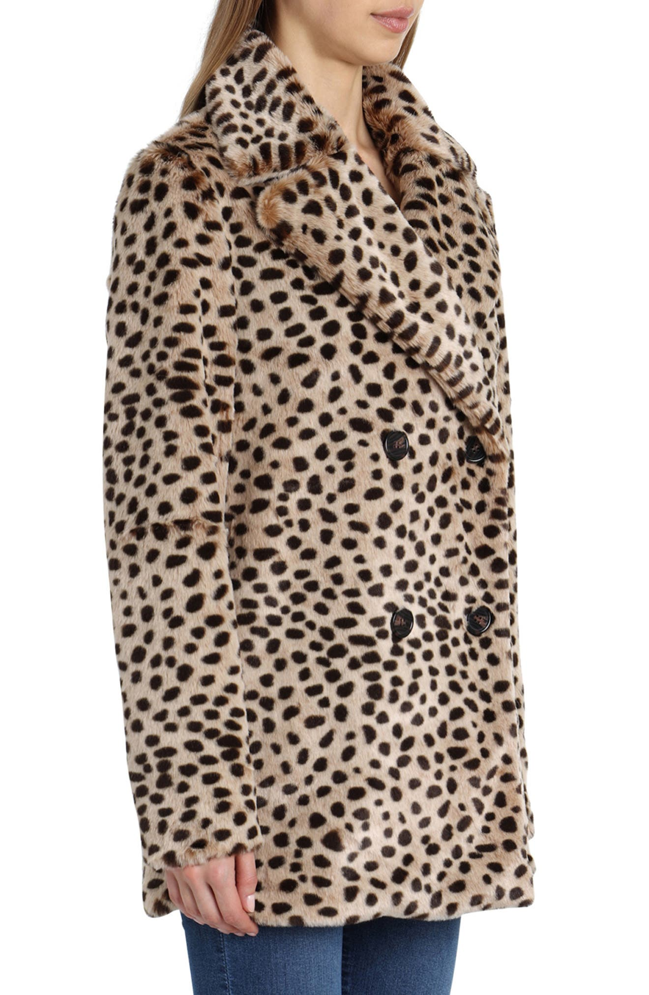 Leopard Print Faux Fur Coat,                             Alternate thumbnail 3, color,                             200