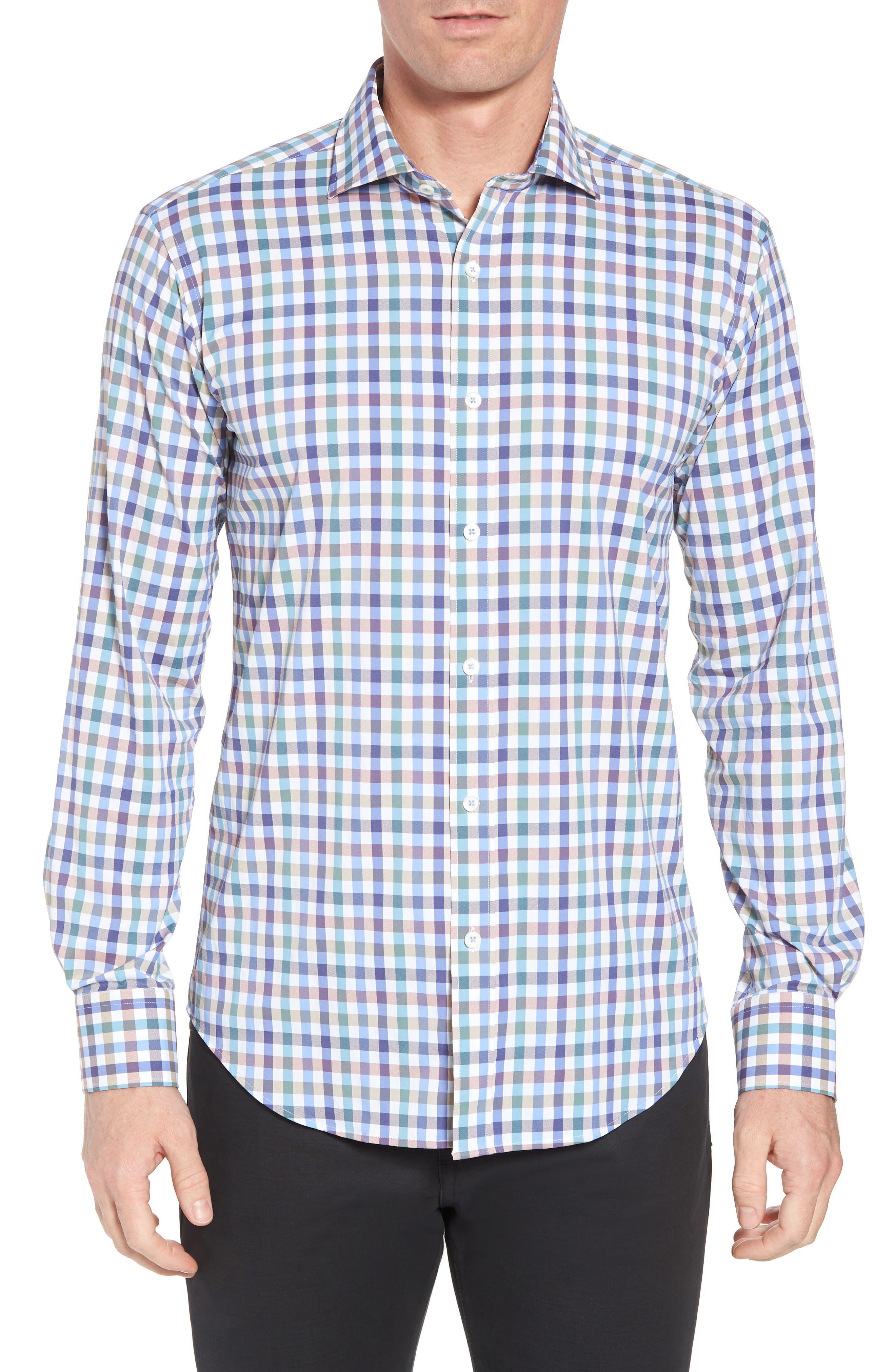 Shaped Fit Check Sport Shirt,                             Main thumbnail 1, color,                             MOCHA