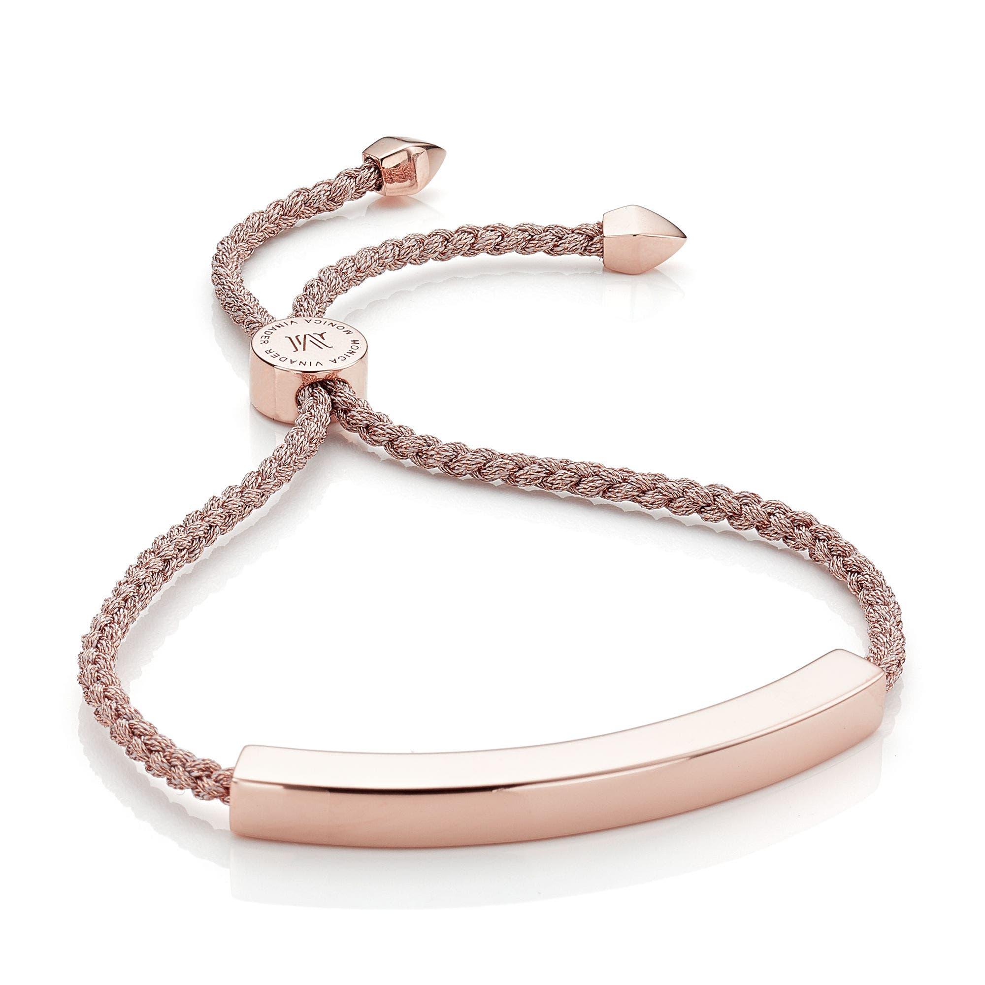 Engravable Large Linear Friendship Bracelet,                         Main,                         color, METALLIC/ ROSE GOLD