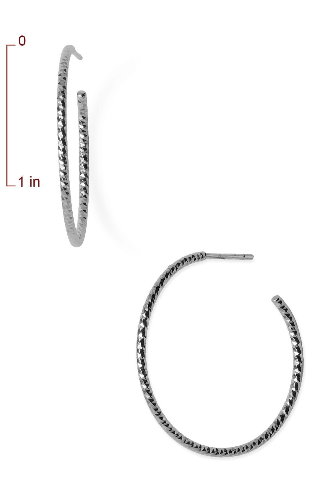 Textured Hoop Earrings,                             Alternate thumbnail 2, color,                             STERLING SILVER