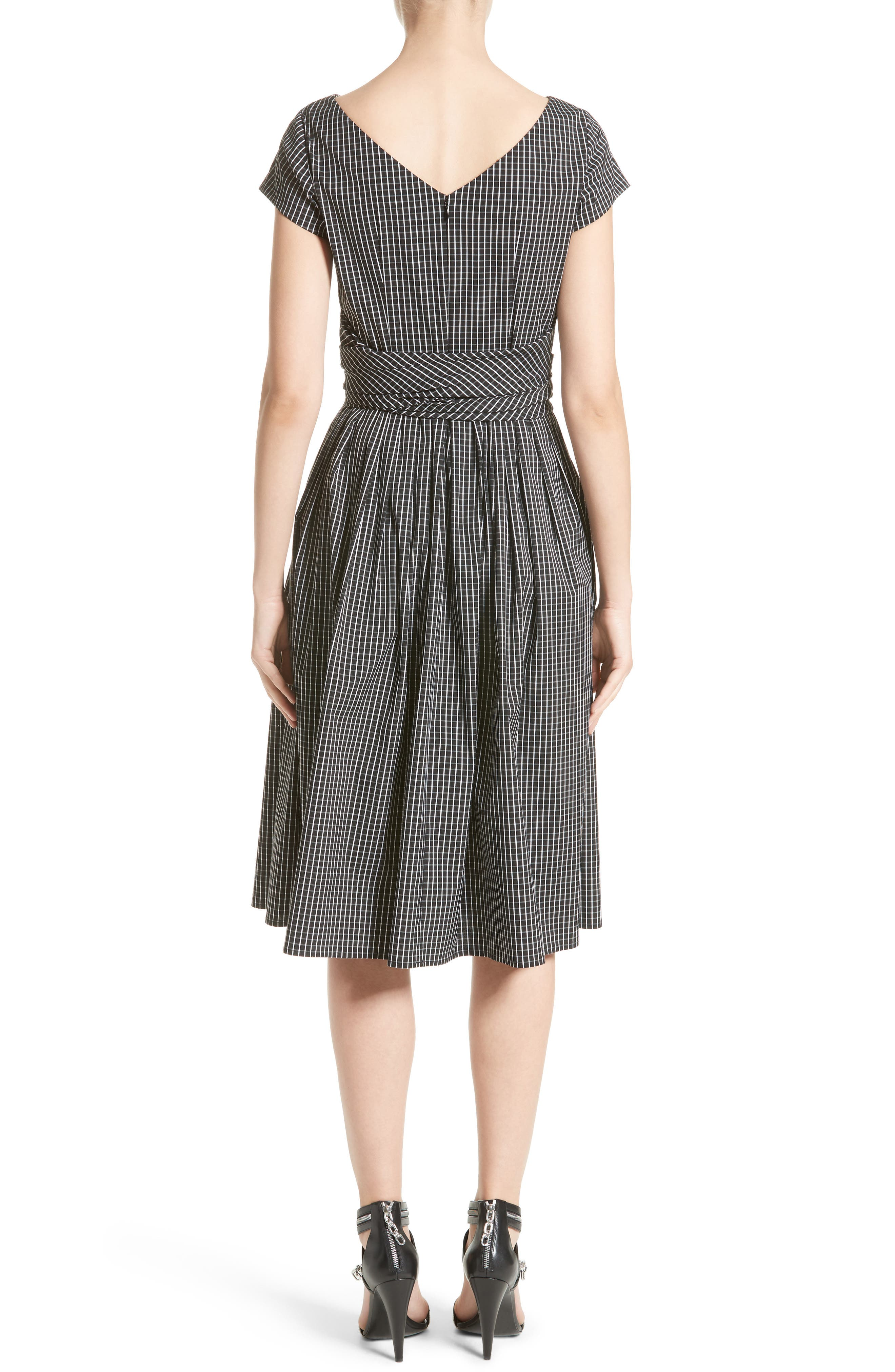 Windowpane Stretch Cotton Poplin Dress,                             Alternate thumbnail 2, color,                             003
