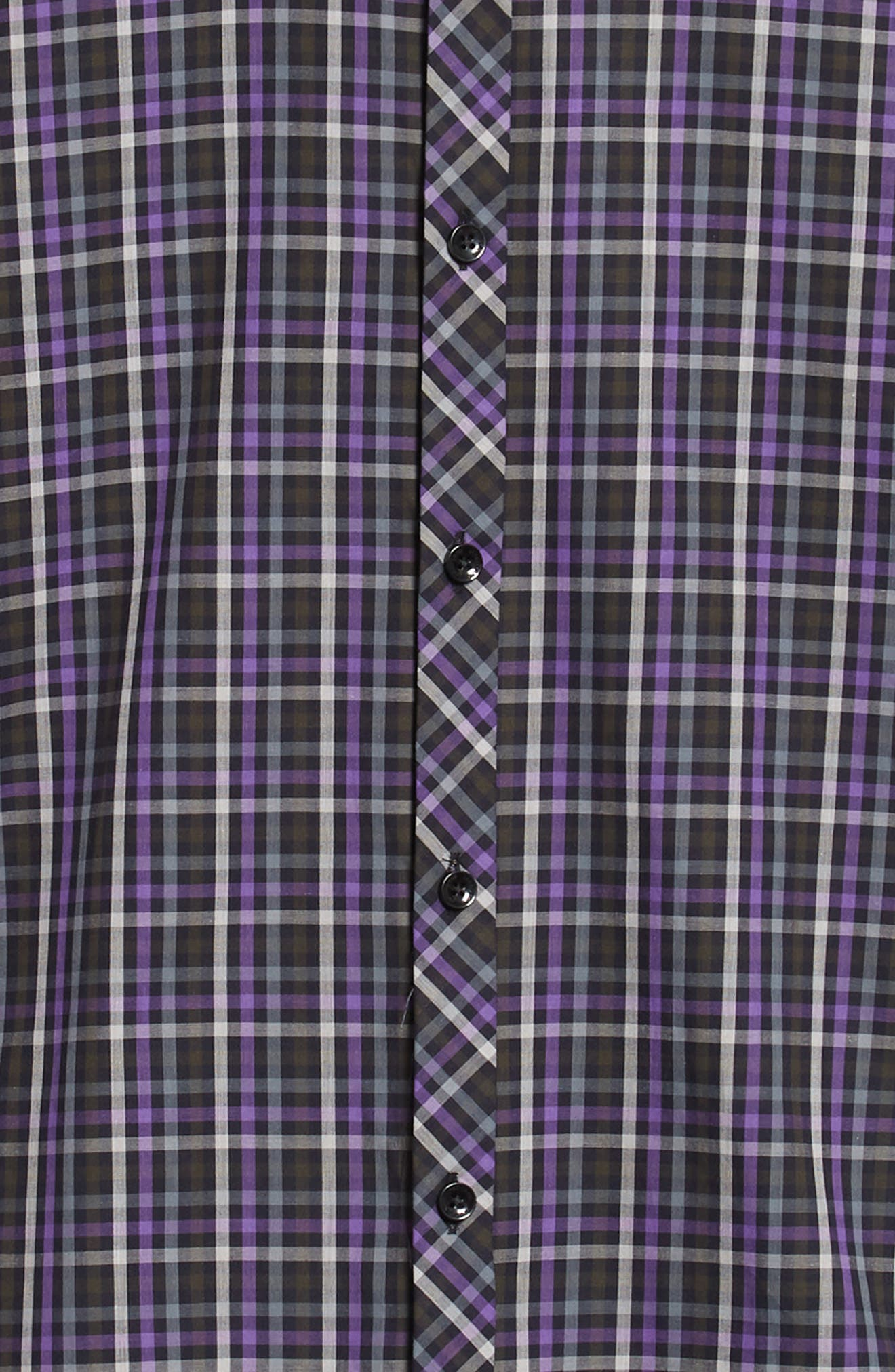 Trim Fit Sport Shirt,                             Alternate thumbnail 6, color,                             PURPLE - BLACK MULTI CHECK