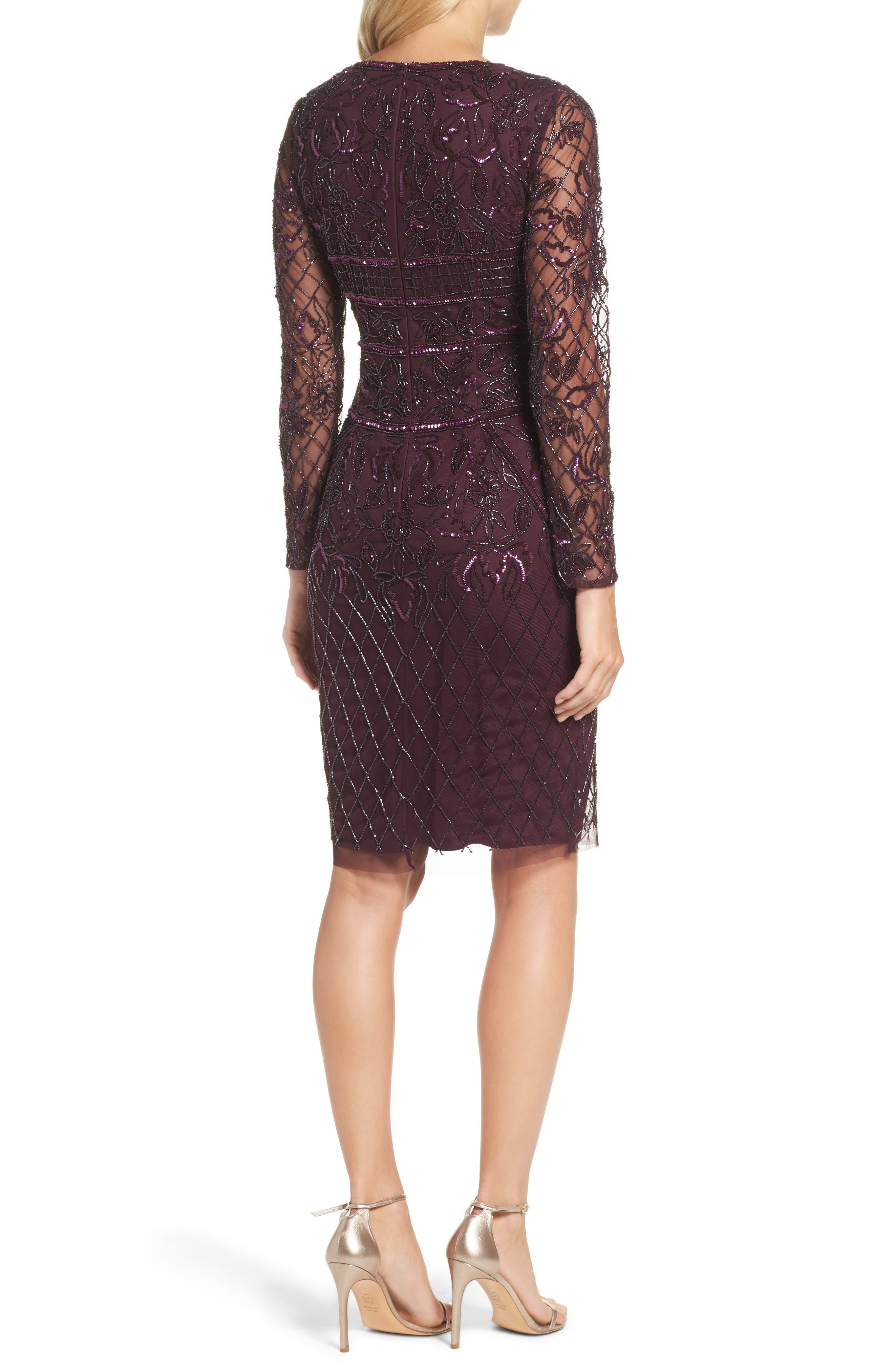 Embellished Deep V-Neck Sheath Dress,                             Alternate thumbnail 2, color,                             504