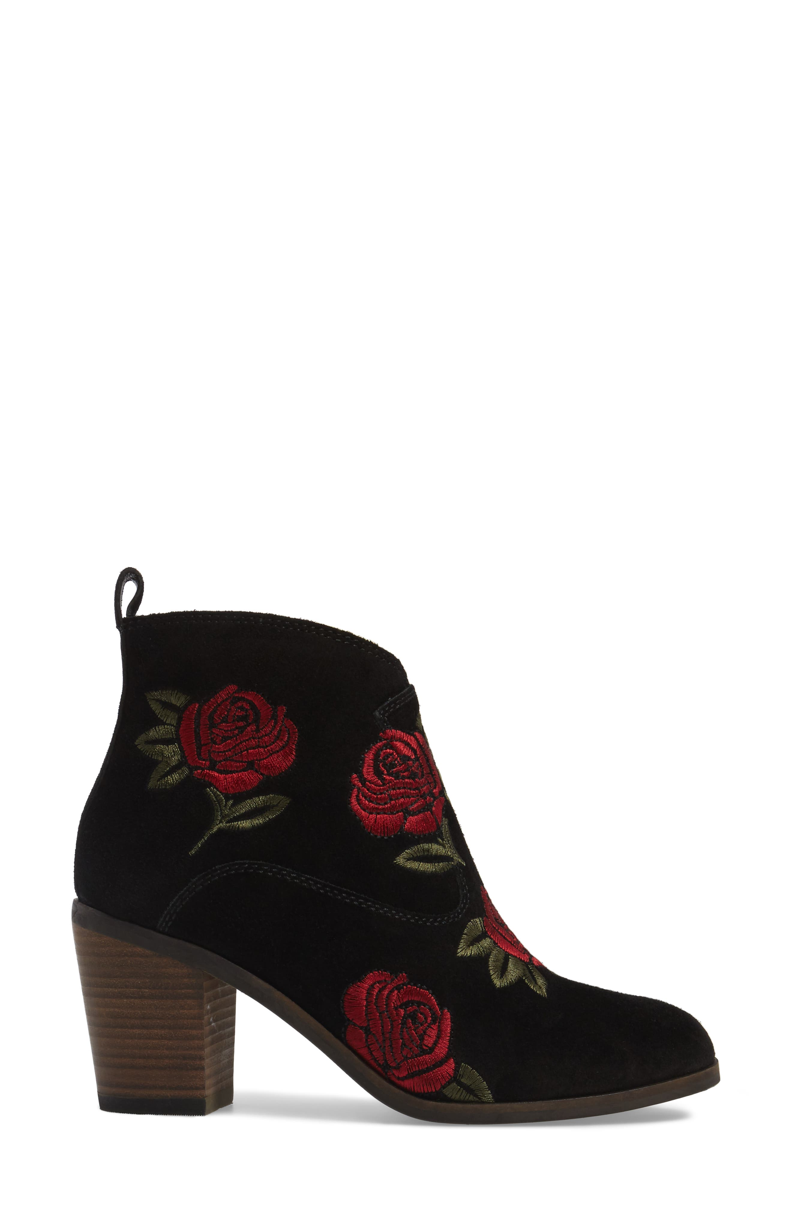 Pexton Embroidered Bootie,                             Alternate thumbnail 3, color,                             002