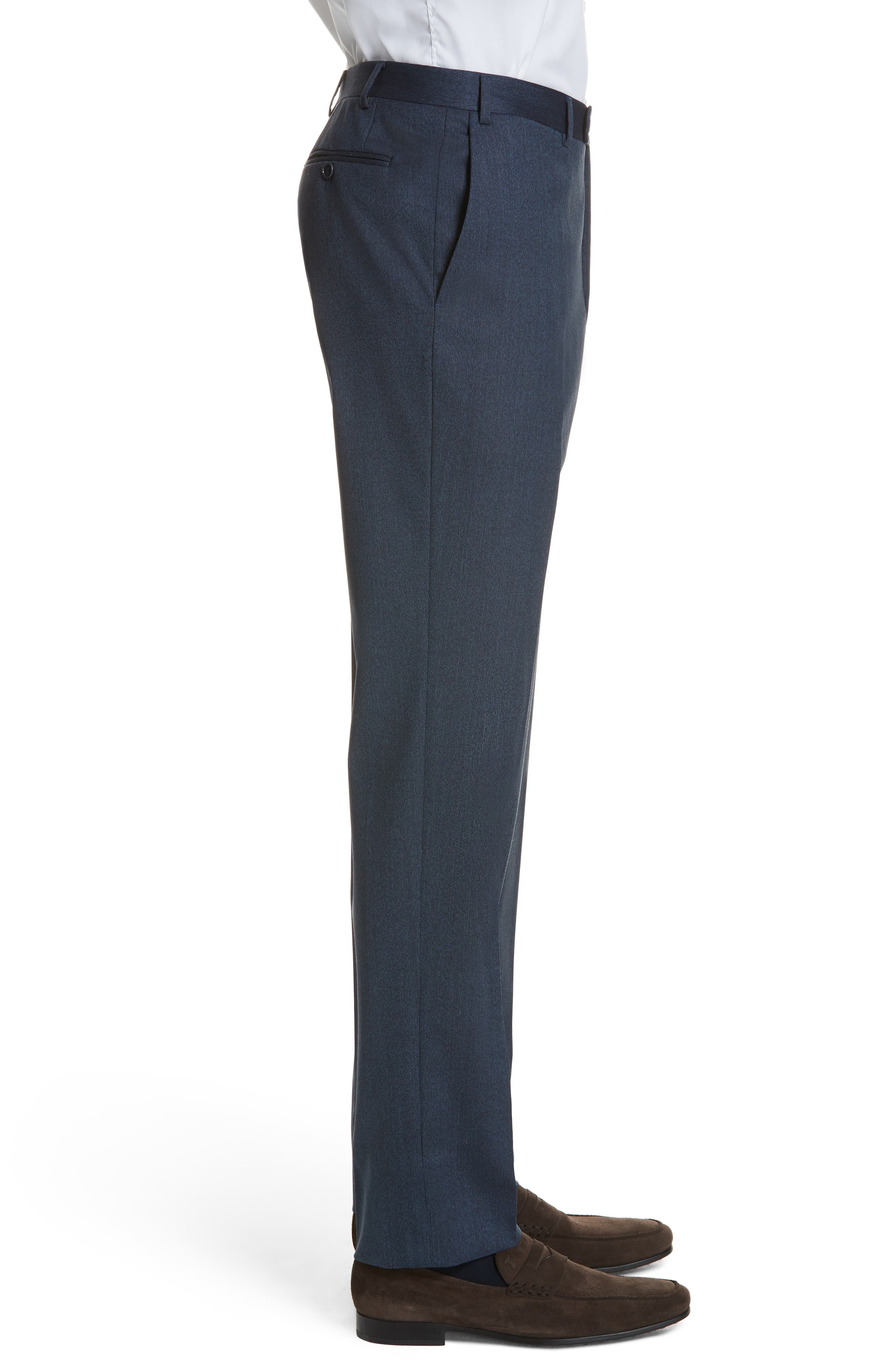 Cavaltry Flat Front Solid Stretch Wool Trousers,                             Alternate thumbnail 3, color,                             DARK BLUE