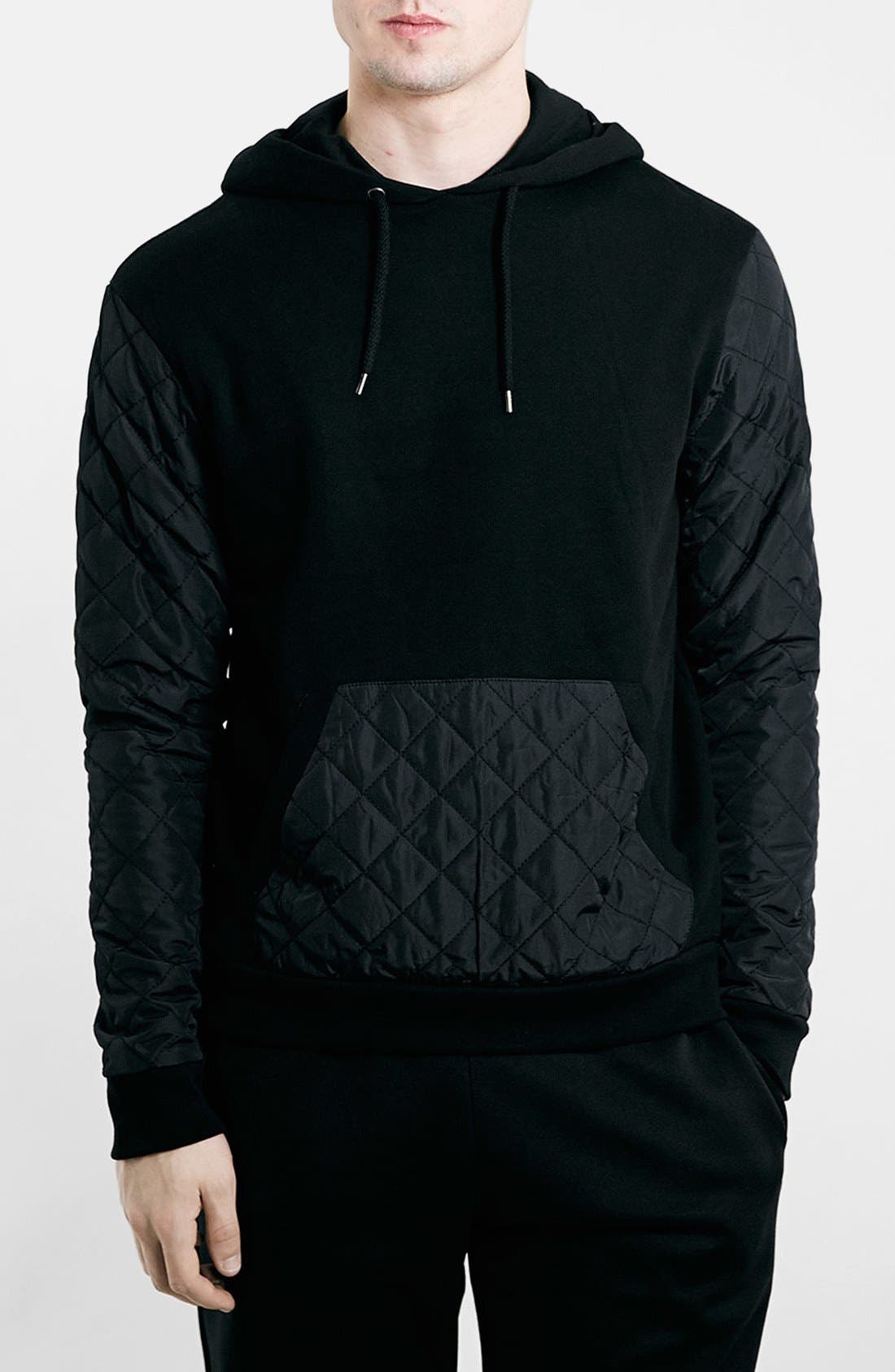 Black Quilted Hoodie, Main, color, 001