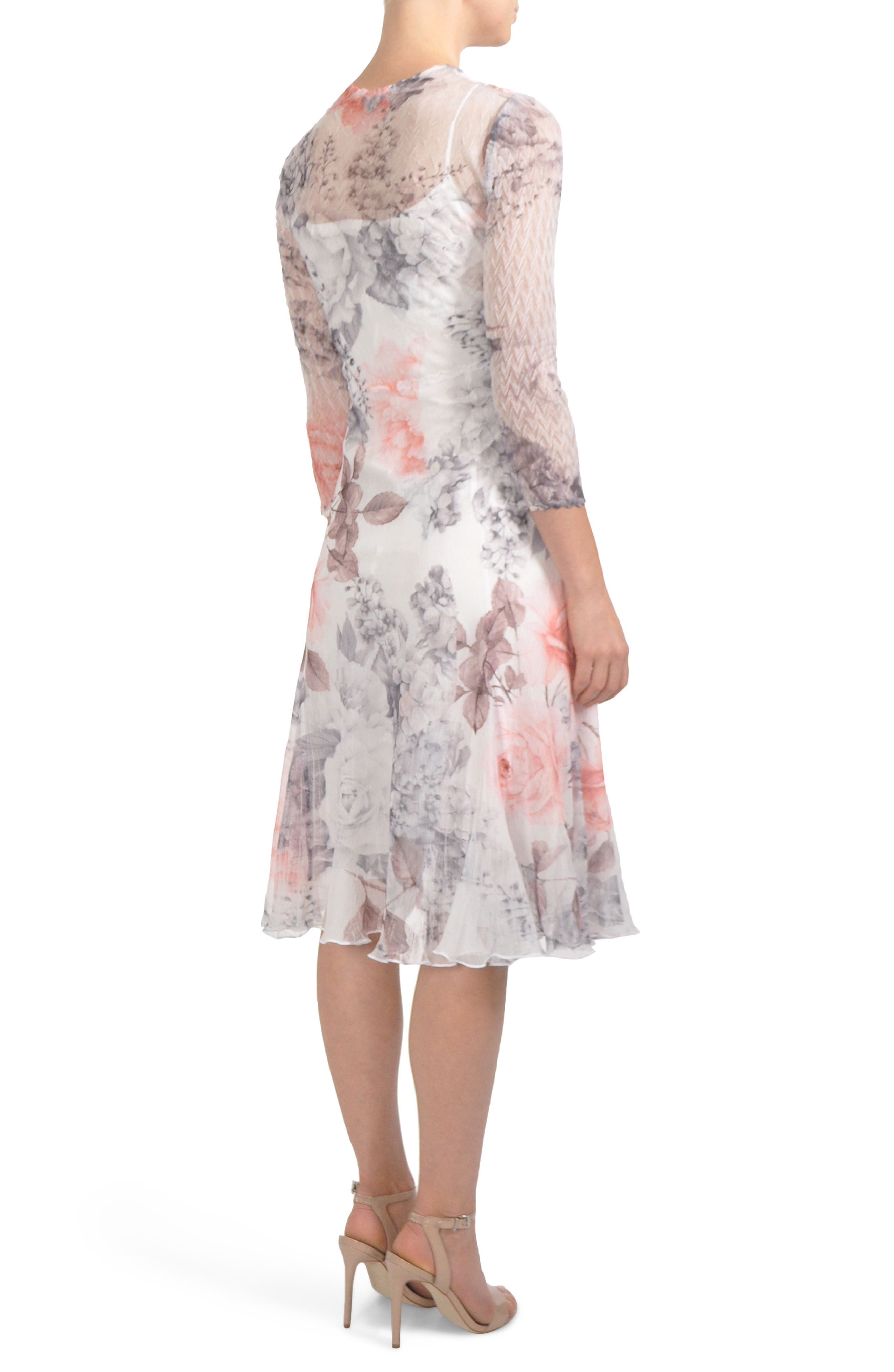 Floral Chiffon Tea Length Dress,                             Alternate thumbnail 2, color,                             FROSTED ROSE