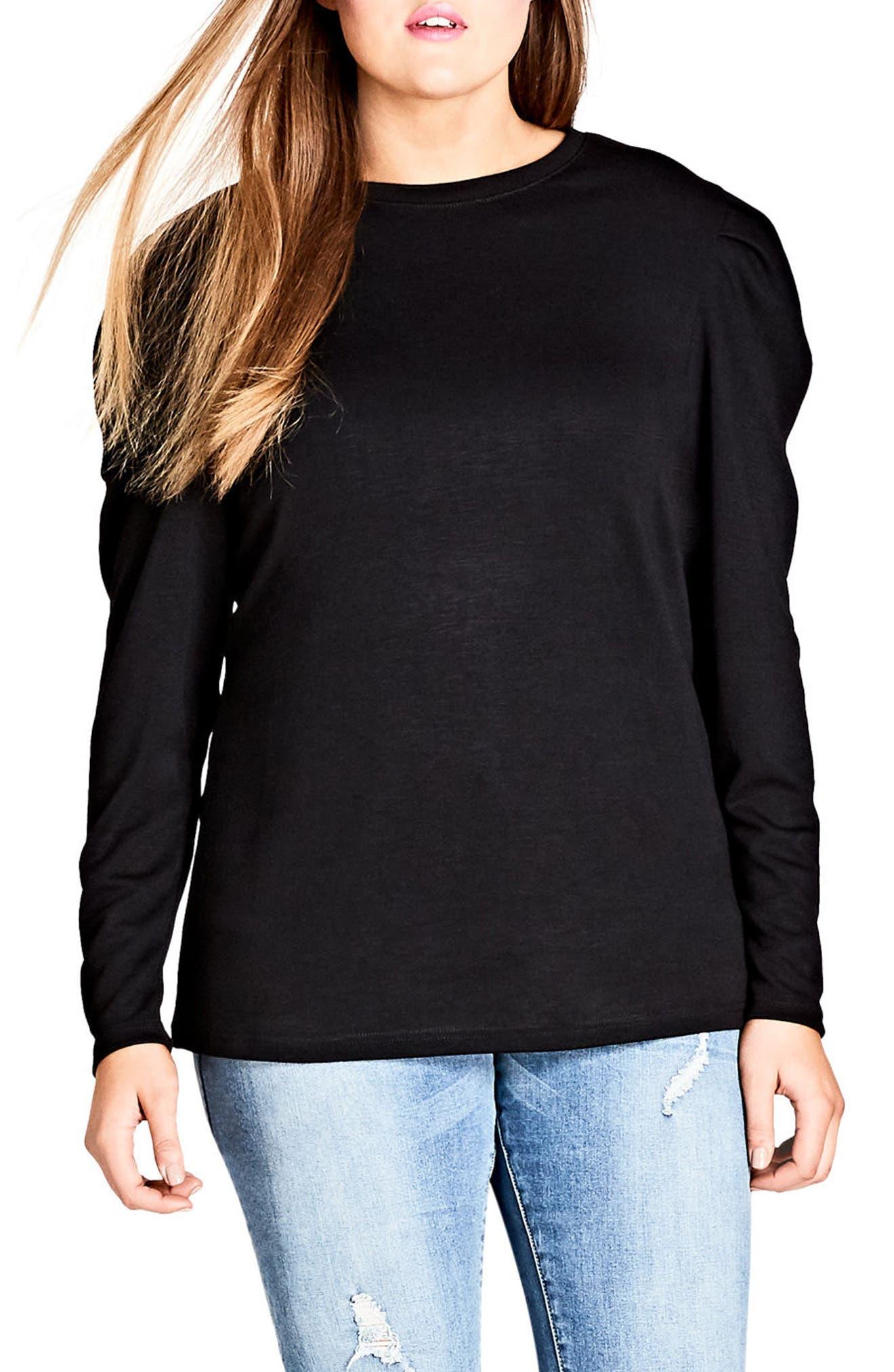 Fancy Shoulder Fleece Knit Top,                             Main thumbnail 1, color,                             BLACK
