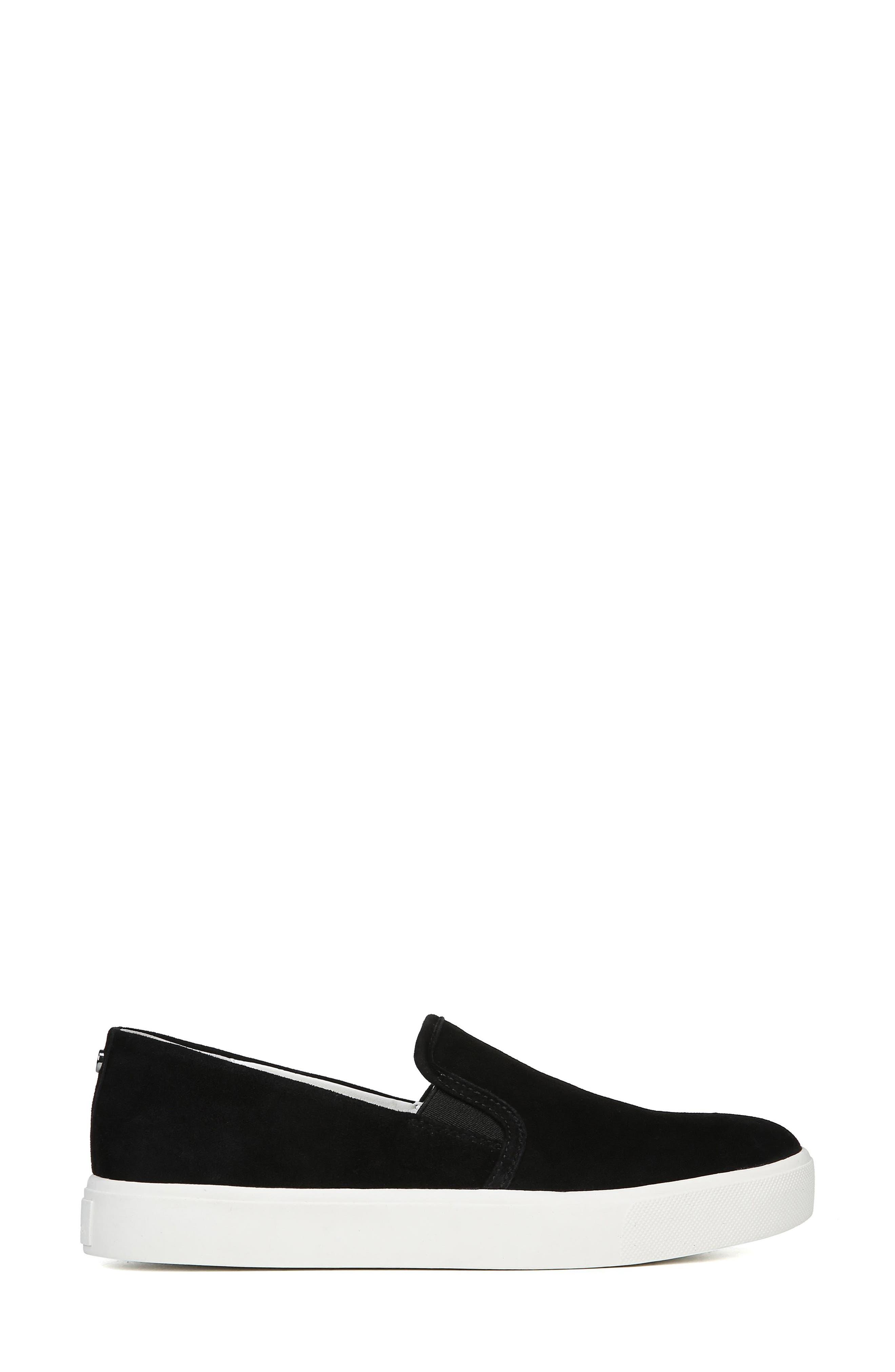 Elton Slip-On Sneaker,                             Alternate thumbnail 3, color,                             BLACK SUEDE LEATHER