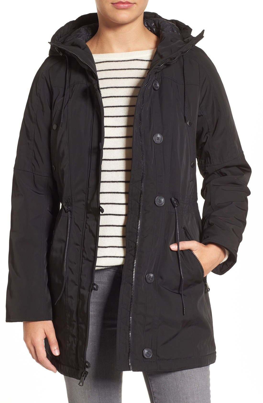 Marc New York by Andrew Marc 'Chrissy' Rain Coat with Removable Hood,                             Main thumbnail 1, color,                             001