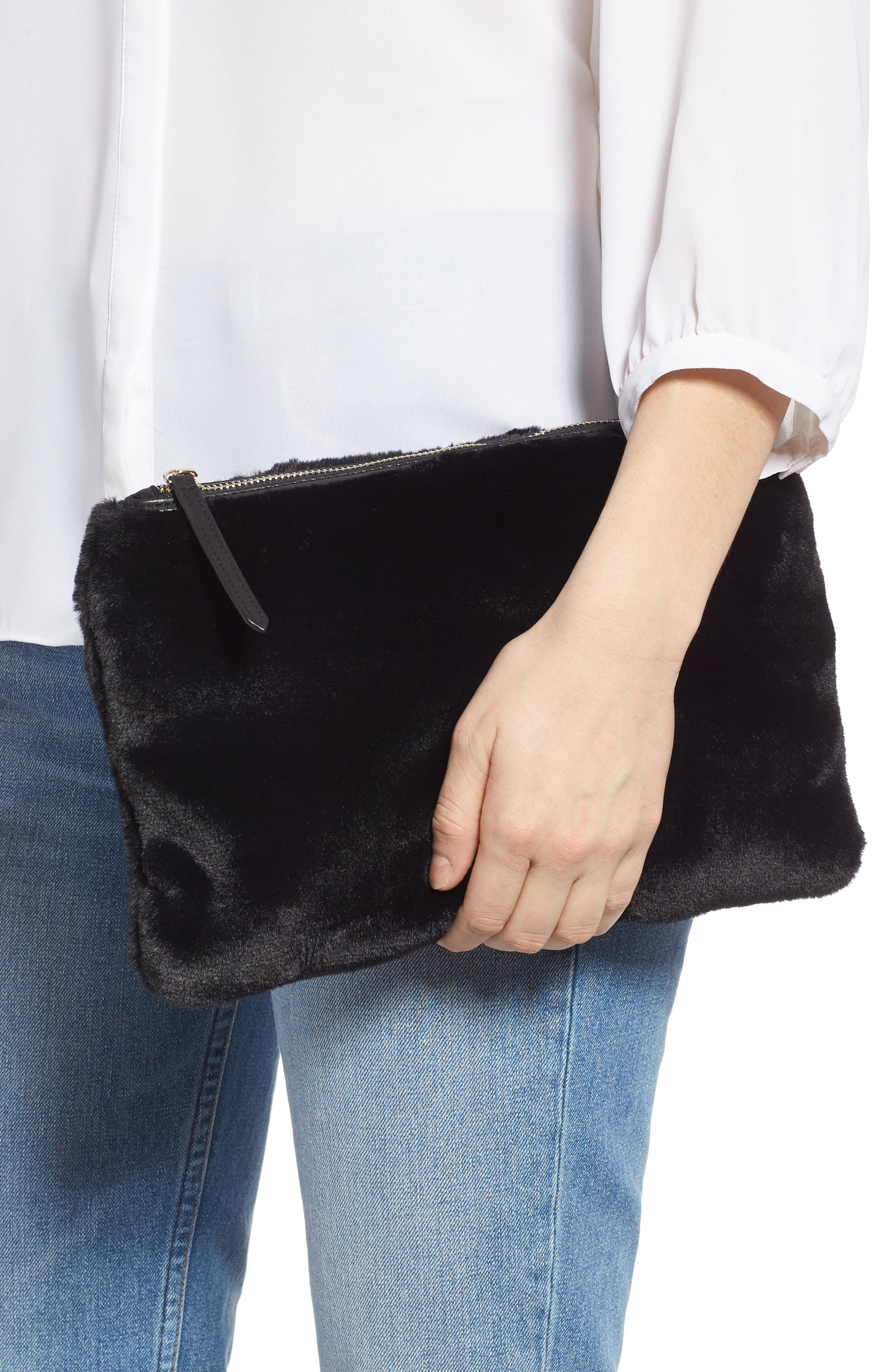Jen Faux Fur Pouch,                             Alternate thumbnail 2, color,                             BLACK