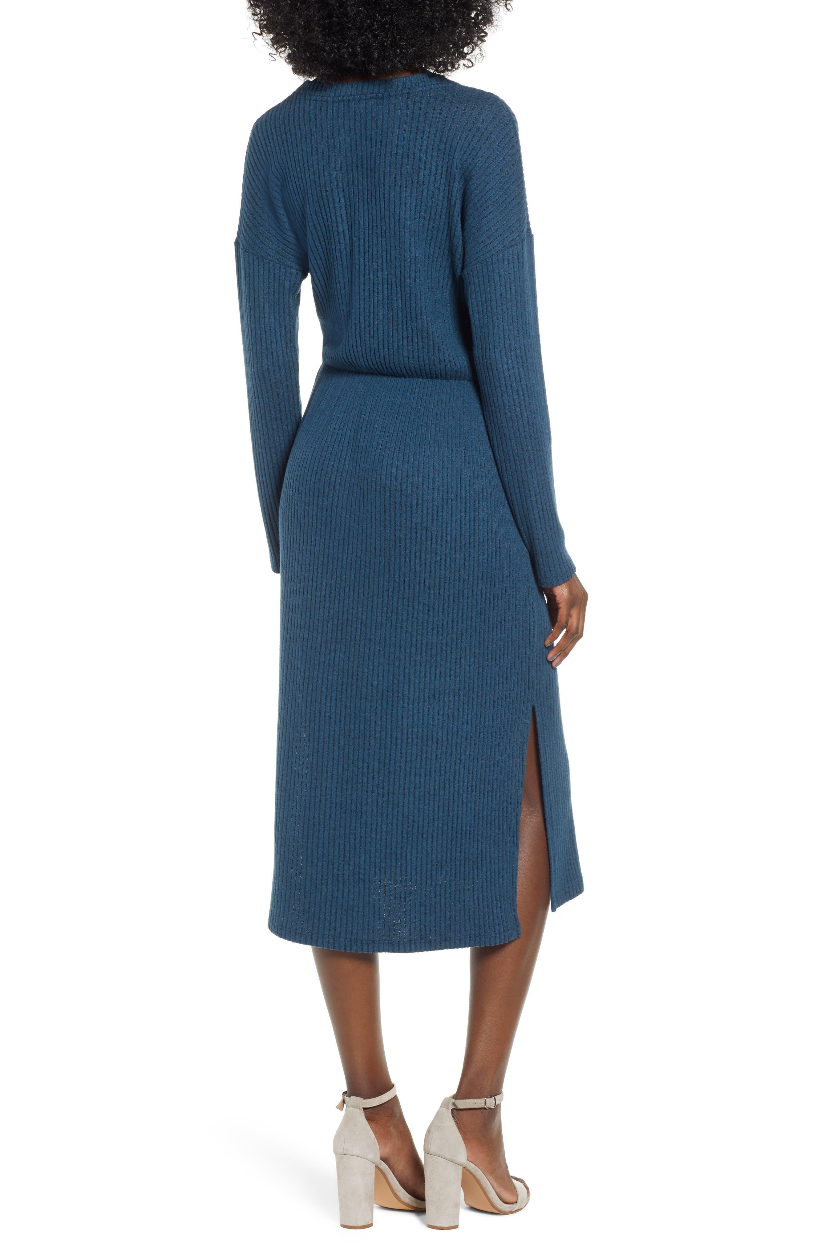 ALL IN FAVOR,                             Rib Knit Midi Dress,                             Alternate thumbnail 2, color,                             MIDNIGHT NAVY