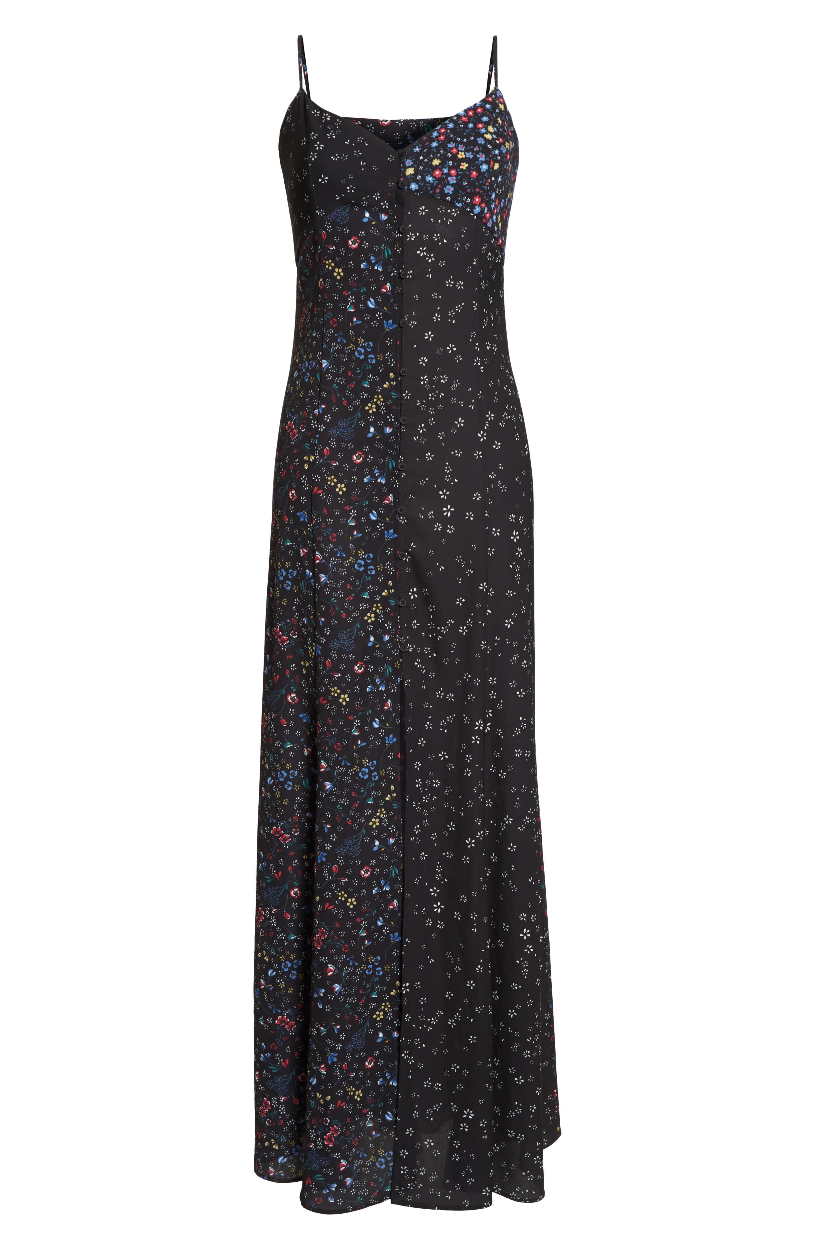 FRENCH CONNECTION,                             Aubine Fluid Slip Dress,                             Alternate thumbnail 6, color,                             002