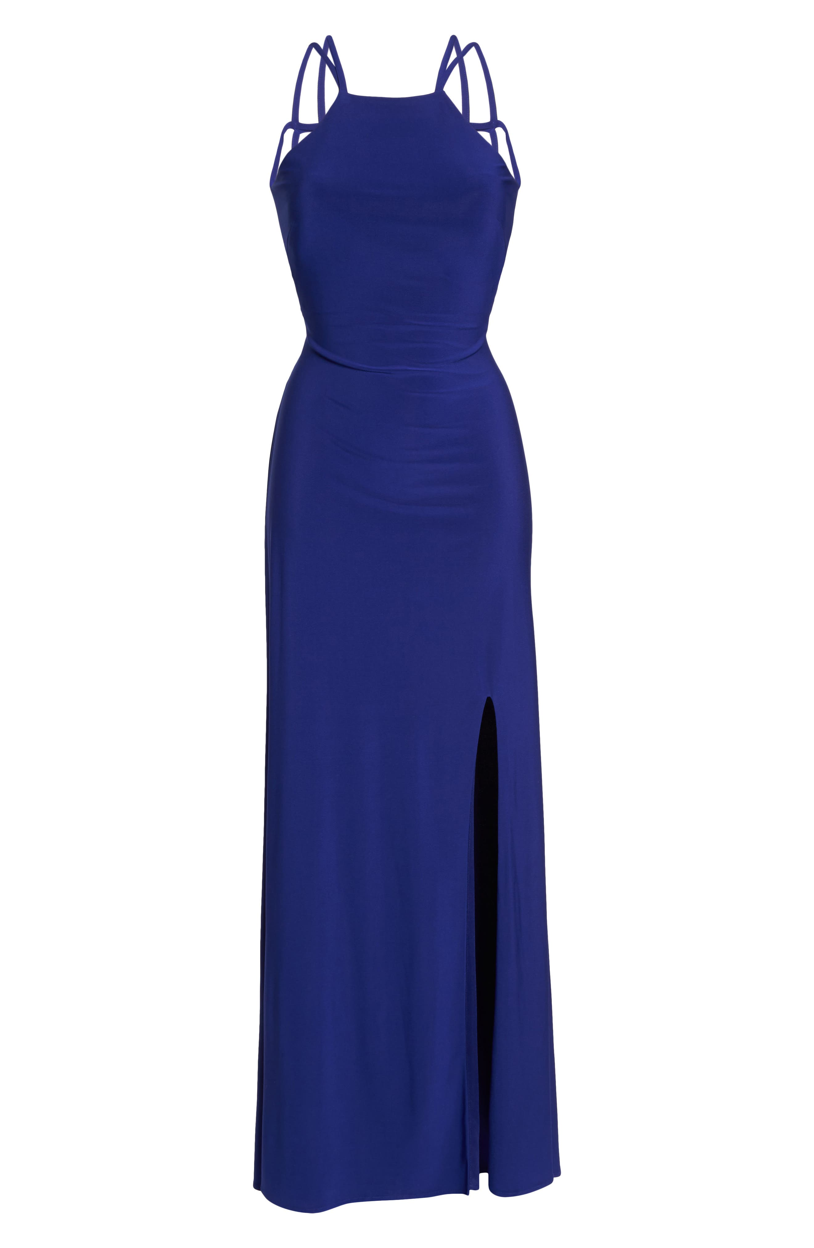 MORGAN & CO.,                             Strappy Trumpet Gown,                             Alternate thumbnail 6, color,                             ELECTRIC BLUE