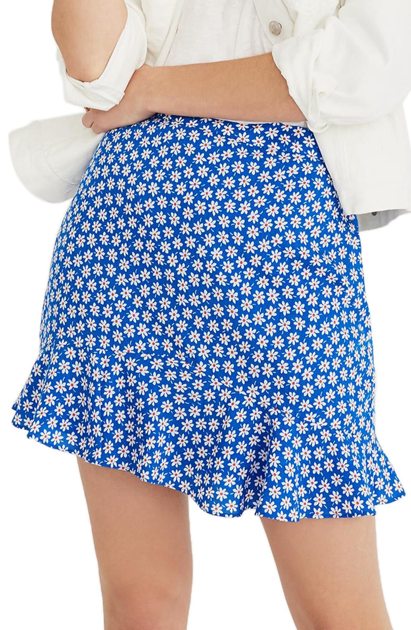 Daisy Print Ruffle Miniskirt,                             Main thumbnail 1, color,                             BRILLIANT ROYAL
