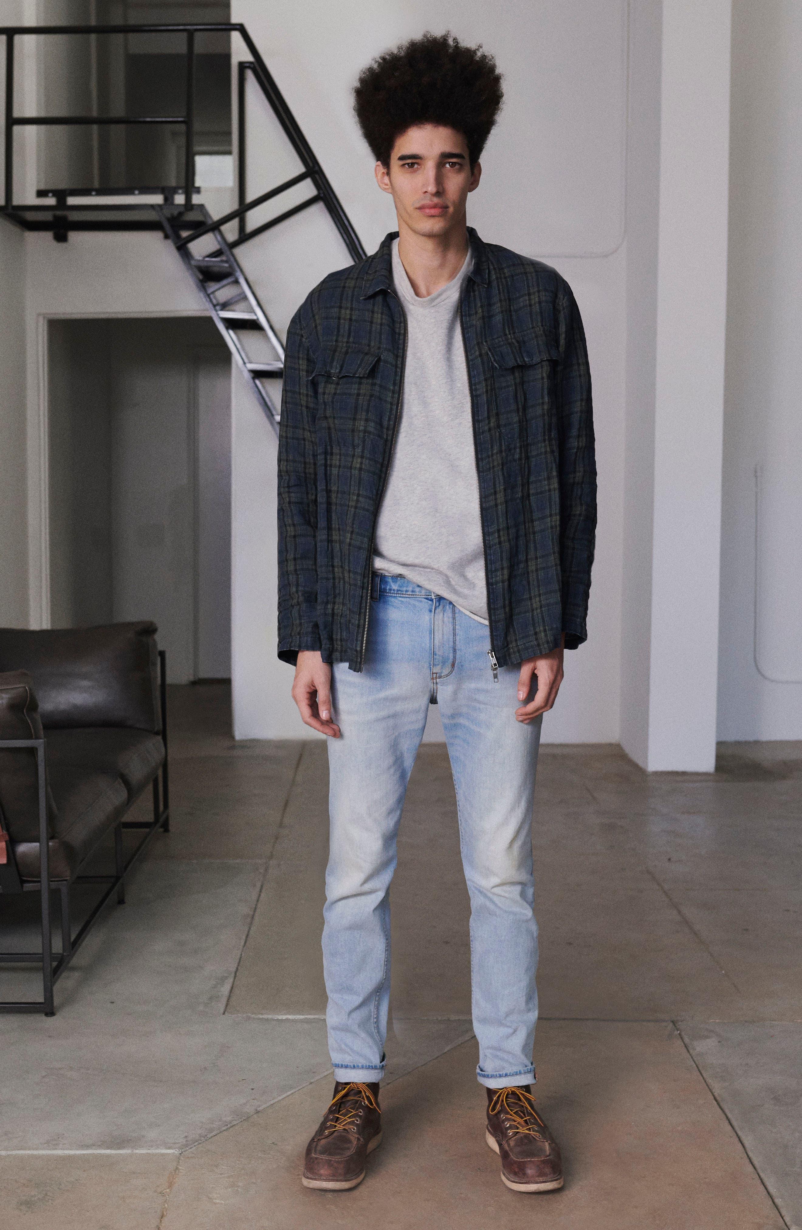 Plaid Zip Front Linen Shirt Jacket,                             Alternate thumbnail 9, color,                             315