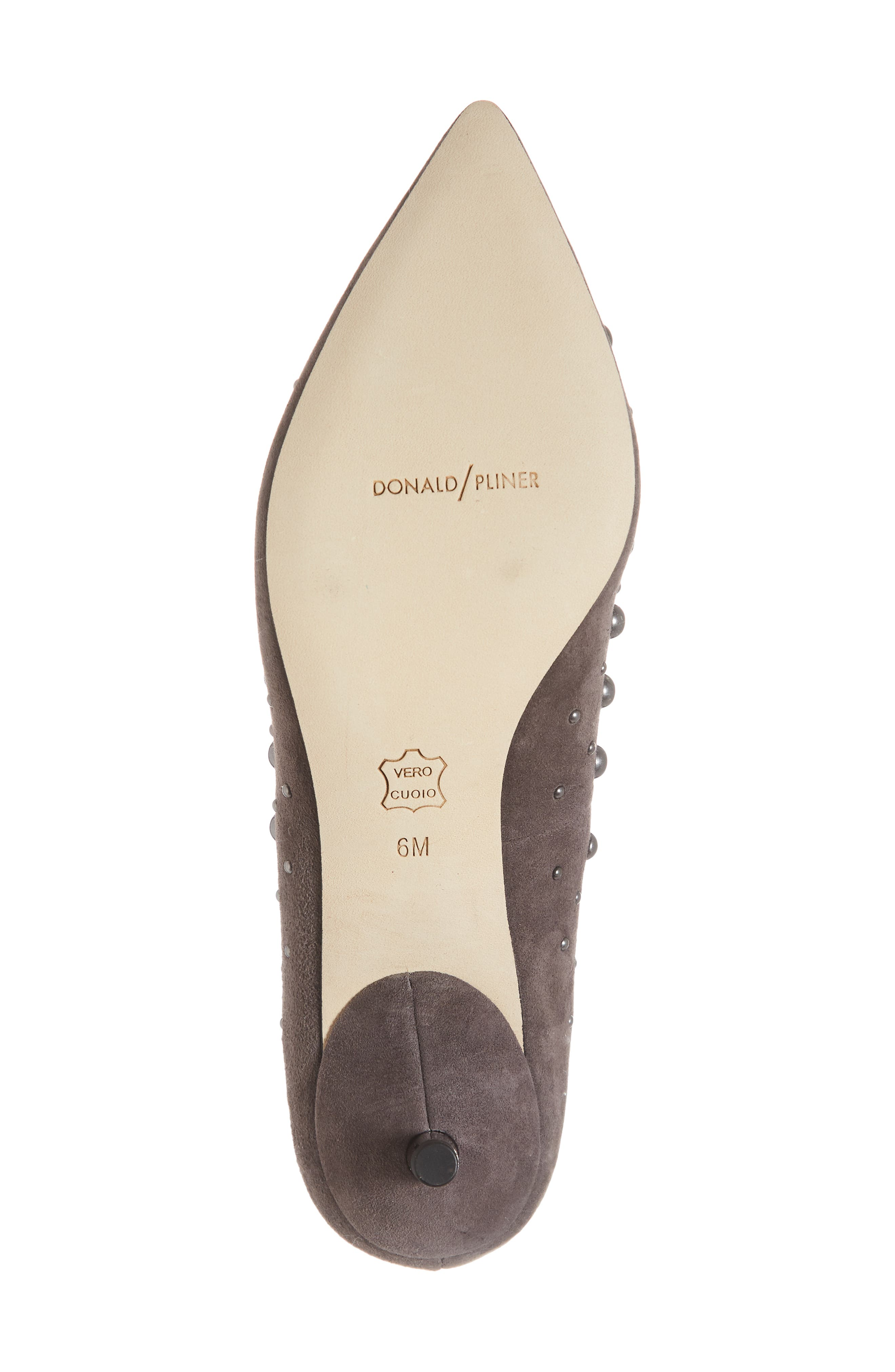 Bazie Studded Pump,                             Alternate thumbnail 6, color,                             GREY SUEDE