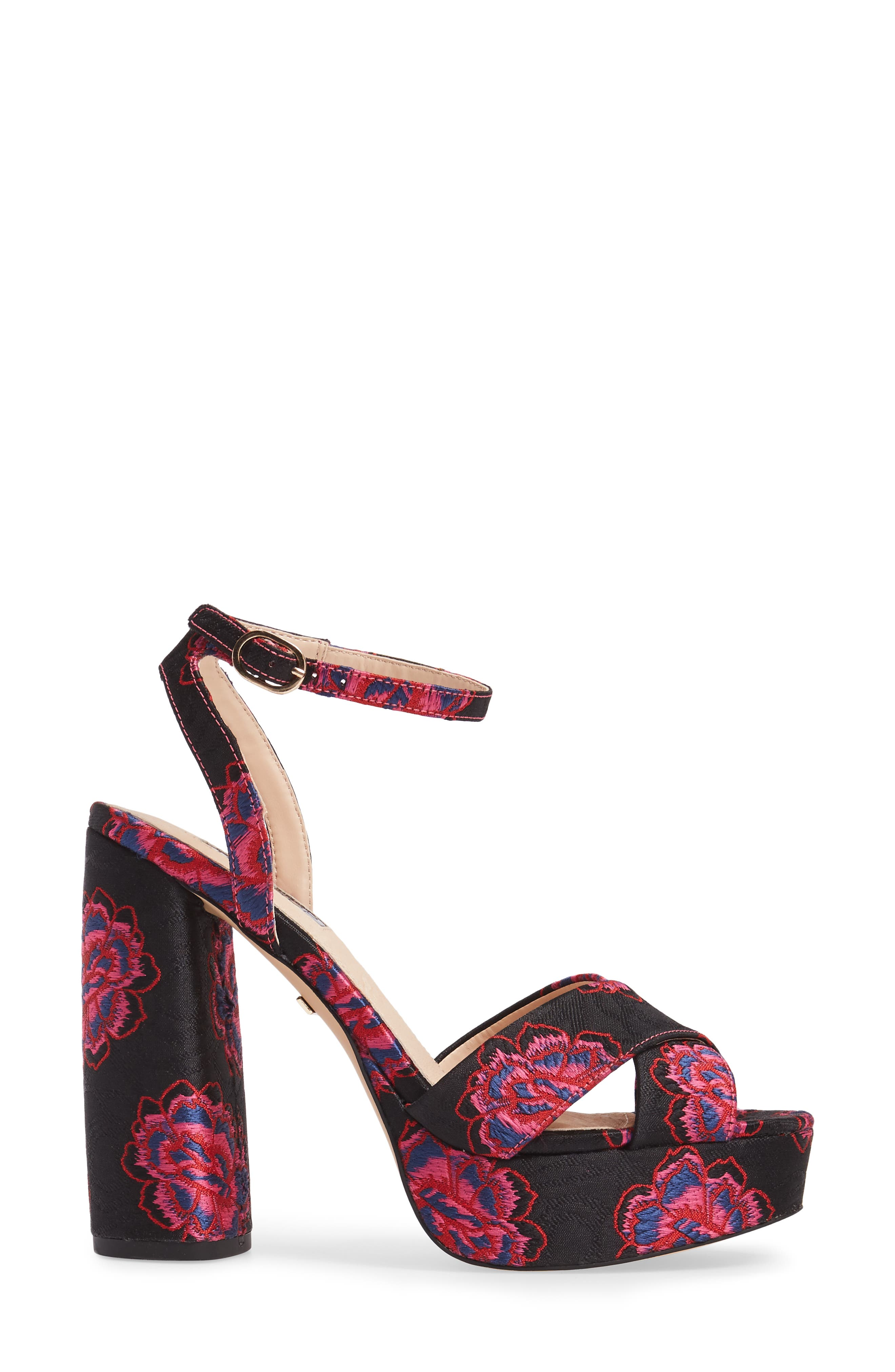 Lollie Embroidered Sandals,                             Alternate thumbnail 3, color,                             001