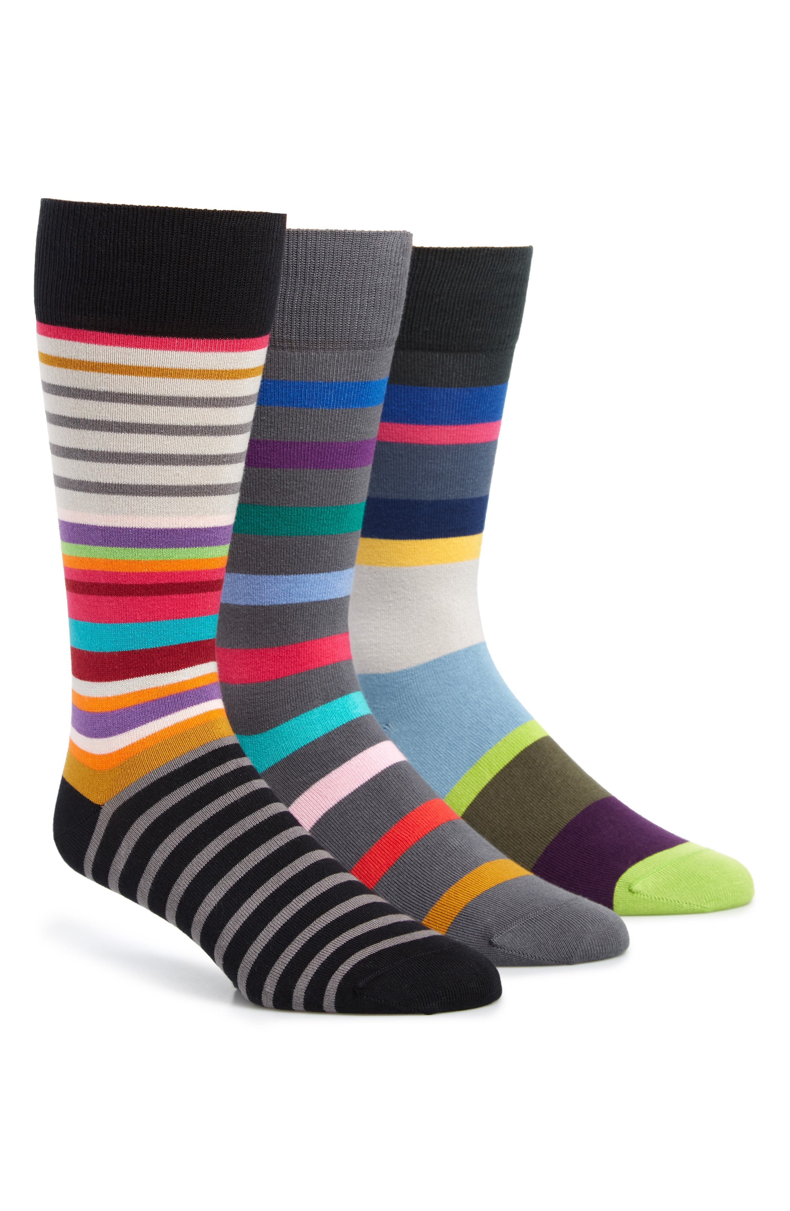 3-Pack Stripe Socks,                         Main,                         color, BLACK/ GREY/ MULTI