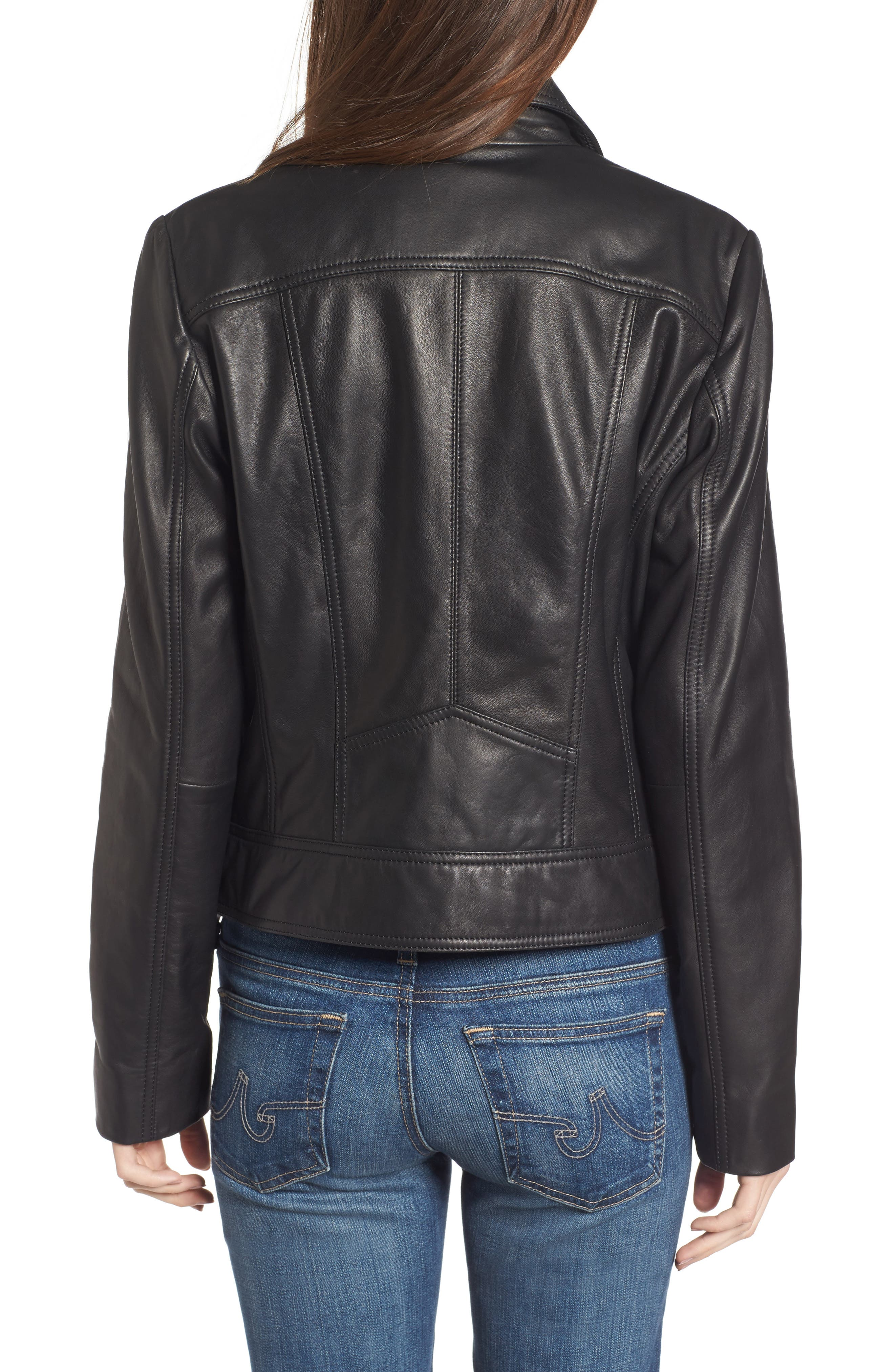 Front Zip Leather Moto Jacket,                             Alternate thumbnail 2, color,                             001