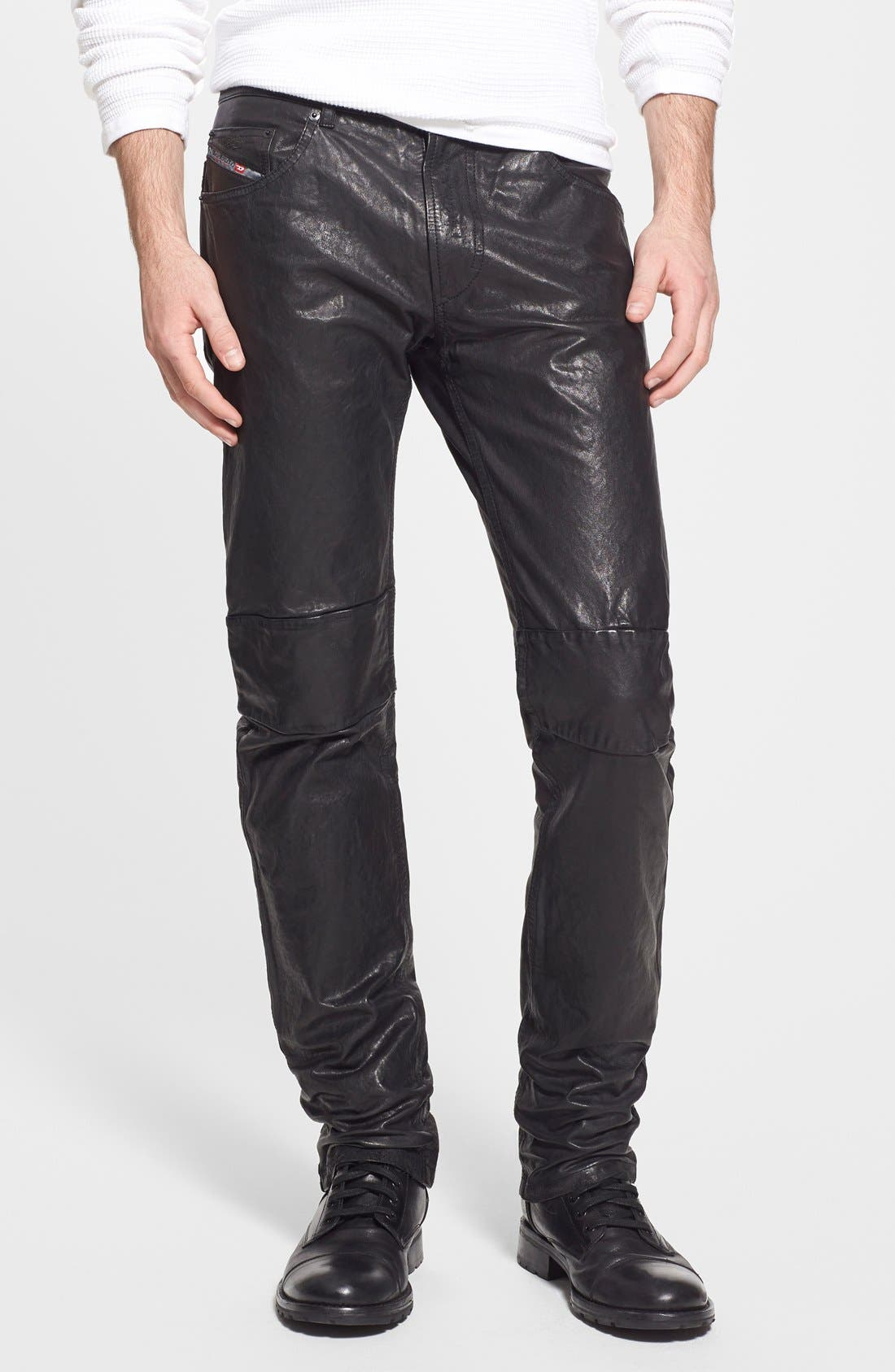 'Thavar' Skinny Fit Leather Pants, Main, color, 001