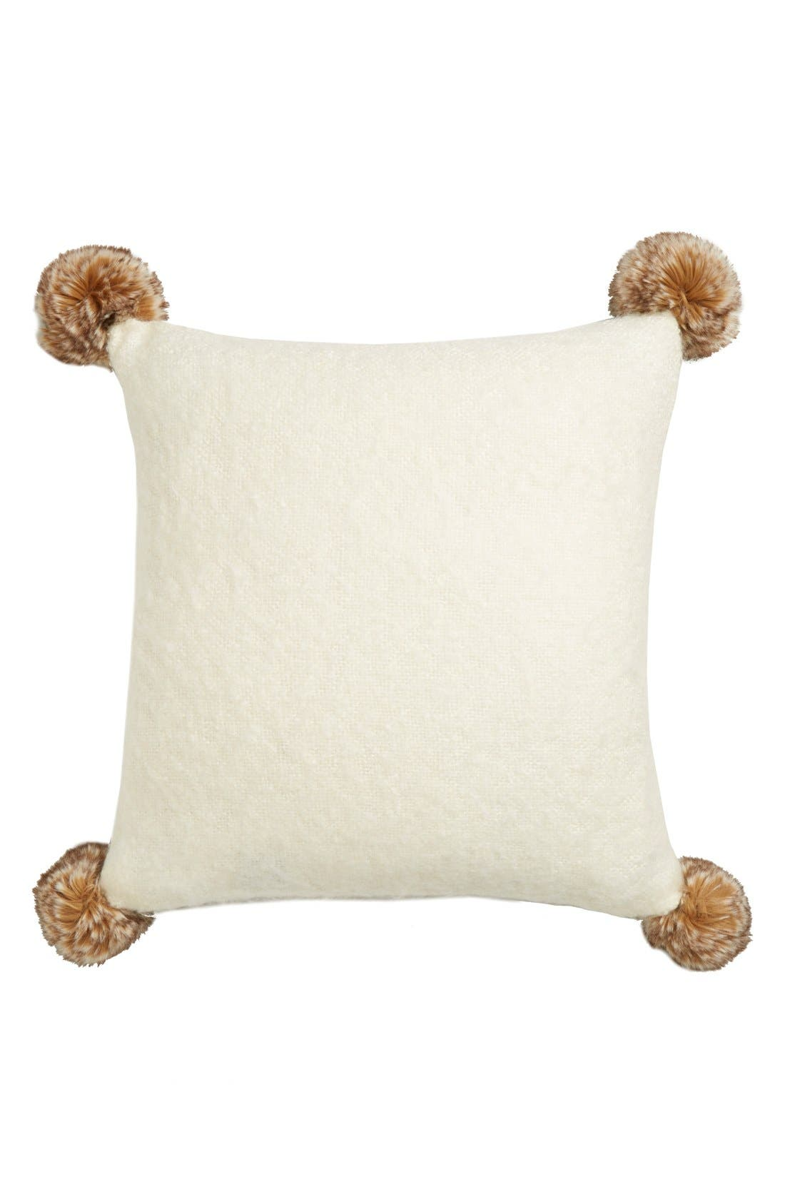 Brushed Accent Pillow with Pompoms,                         Main,                         color,
