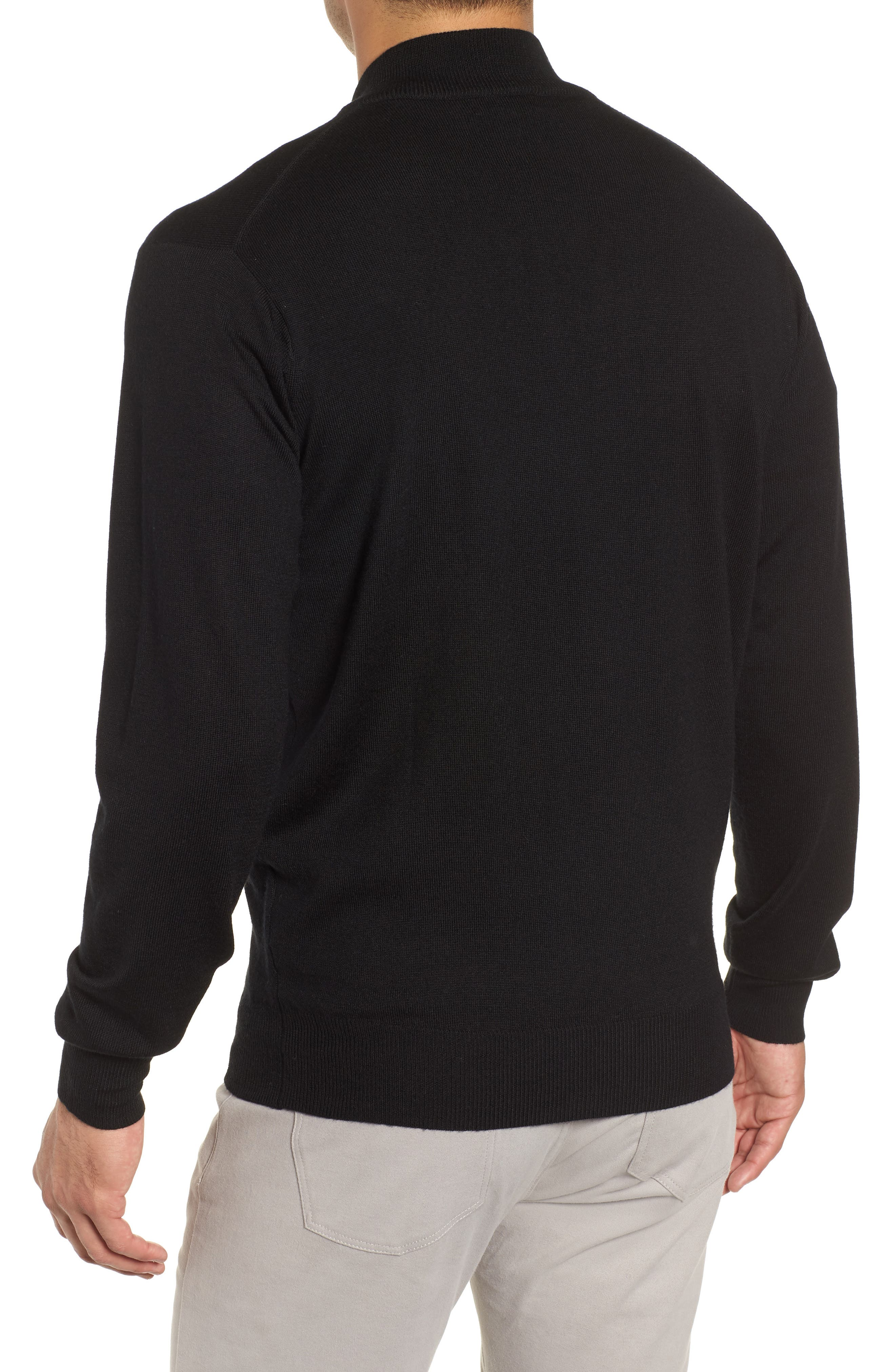 Crown Soft Wool Blend Quarter Zip Sweater,                             Alternate thumbnail 2, color,                             001