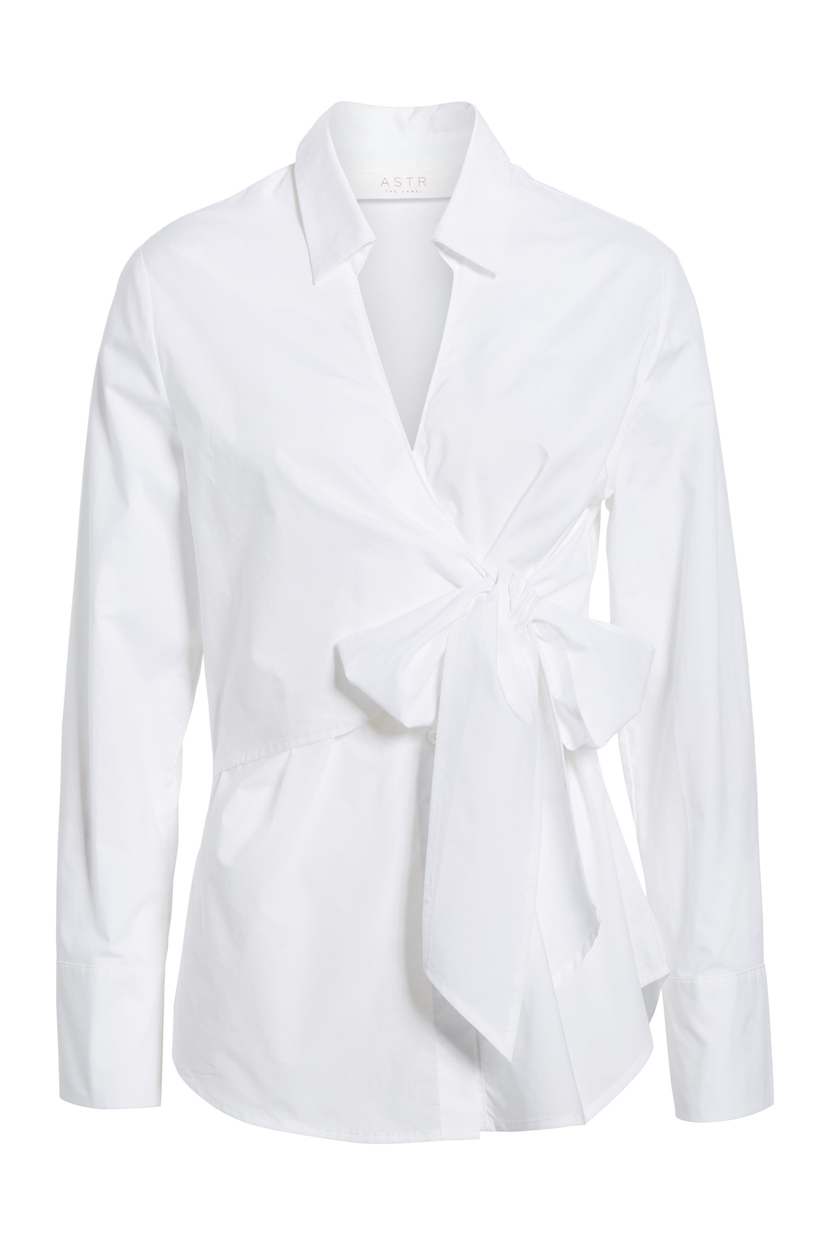 Tie Front Poplin Blouse,                             Alternate thumbnail 6, color,                             100