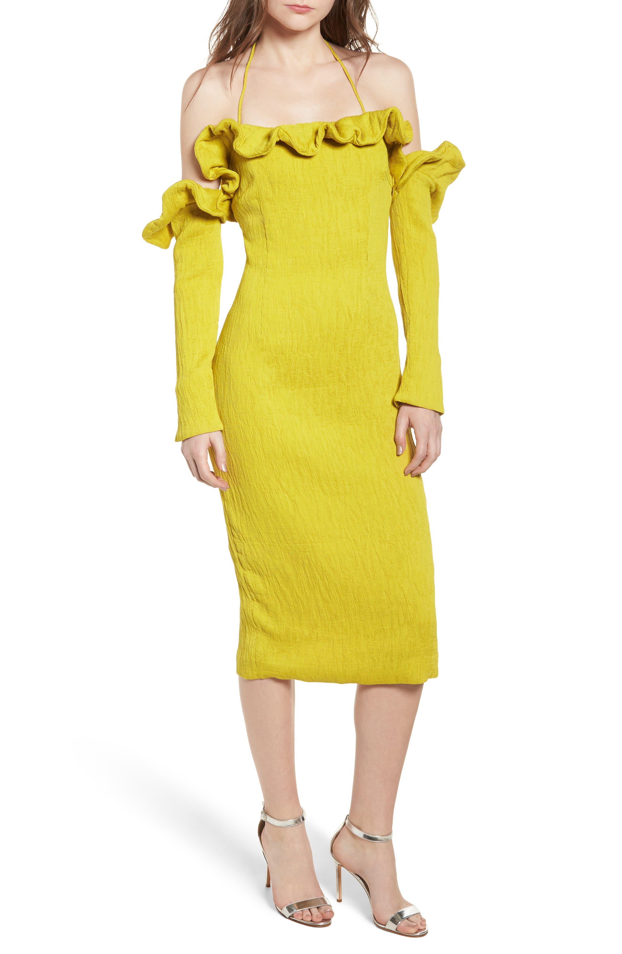 Avon Cold Shoulder Dress,                             Main thumbnail 1, color,                             CHARTREUSE