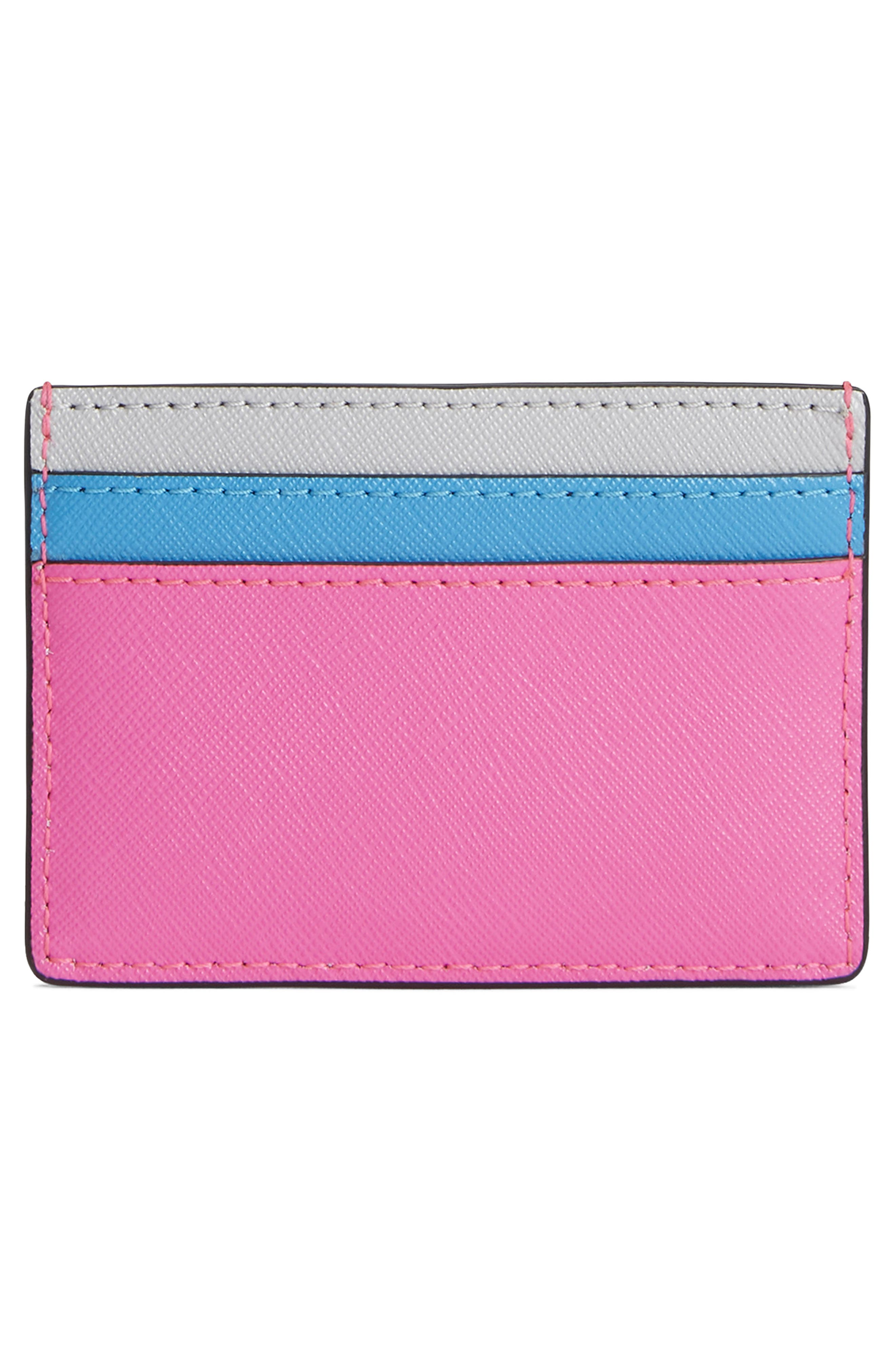 Snapshot Leather Card Case,                             Alternate thumbnail 2, color,                             BRIGHT PINK MULTI