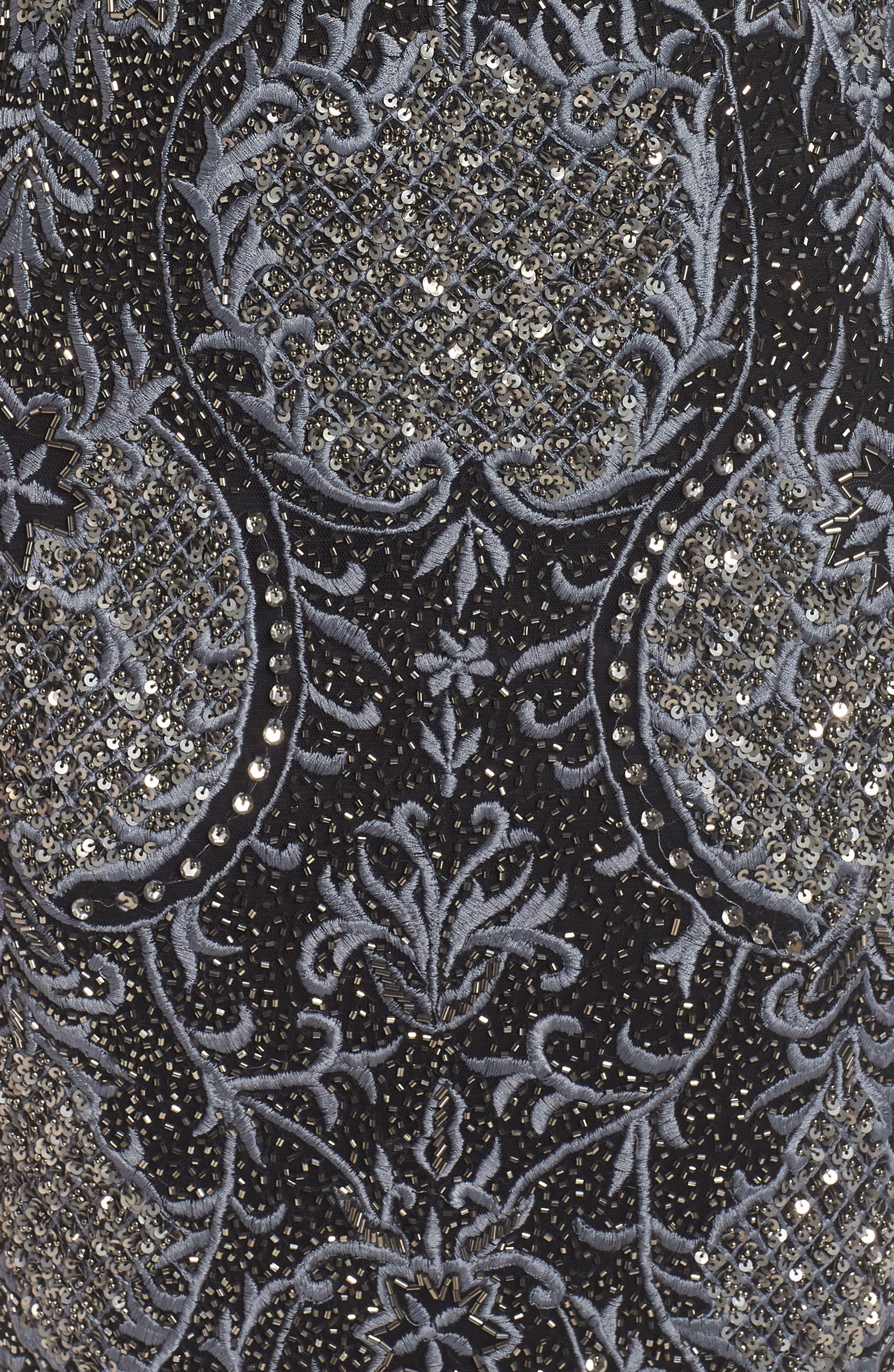 Embroidered Scallop Edge Midi Sheath Dress,                             Alternate thumbnail 6, color,                             BLACK
