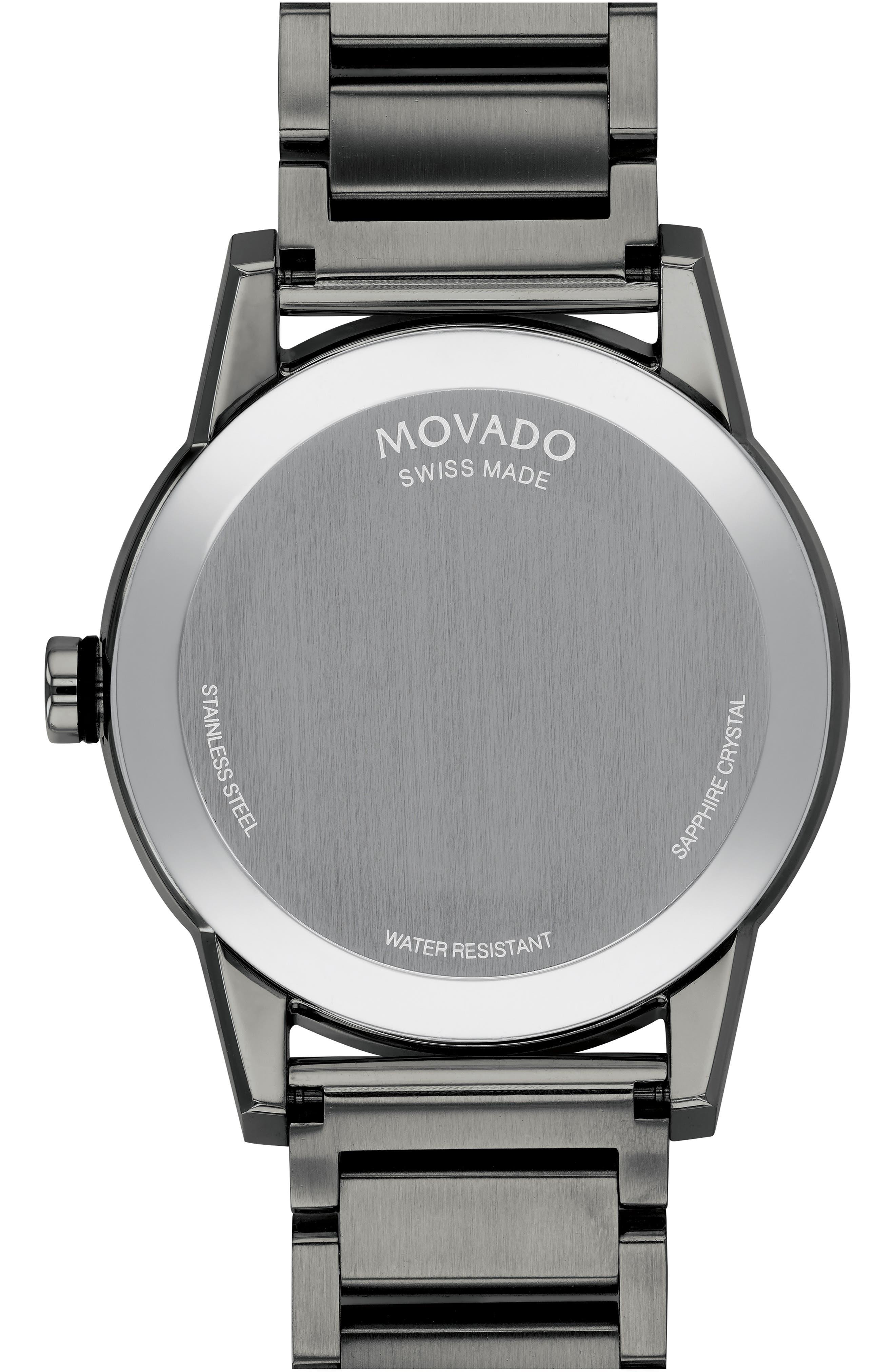 MOVADO,                             Museum Sport Bracelet Watch, 42mm,                             Alternate thumbnail 2, color,                             GUNMETAL/ BLACK
