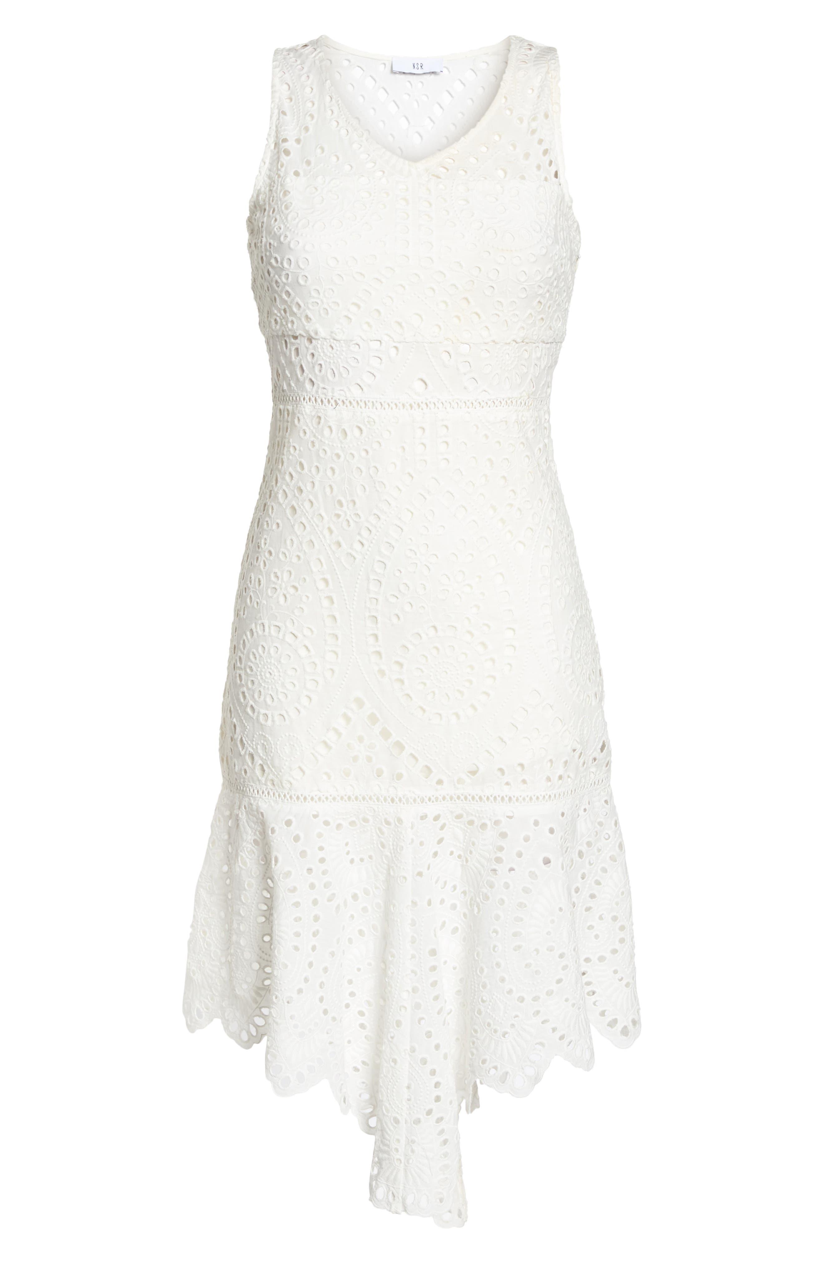Asymmetric Hem Eyelet Dress,                             Alternate thumbnail 7, color,                             100