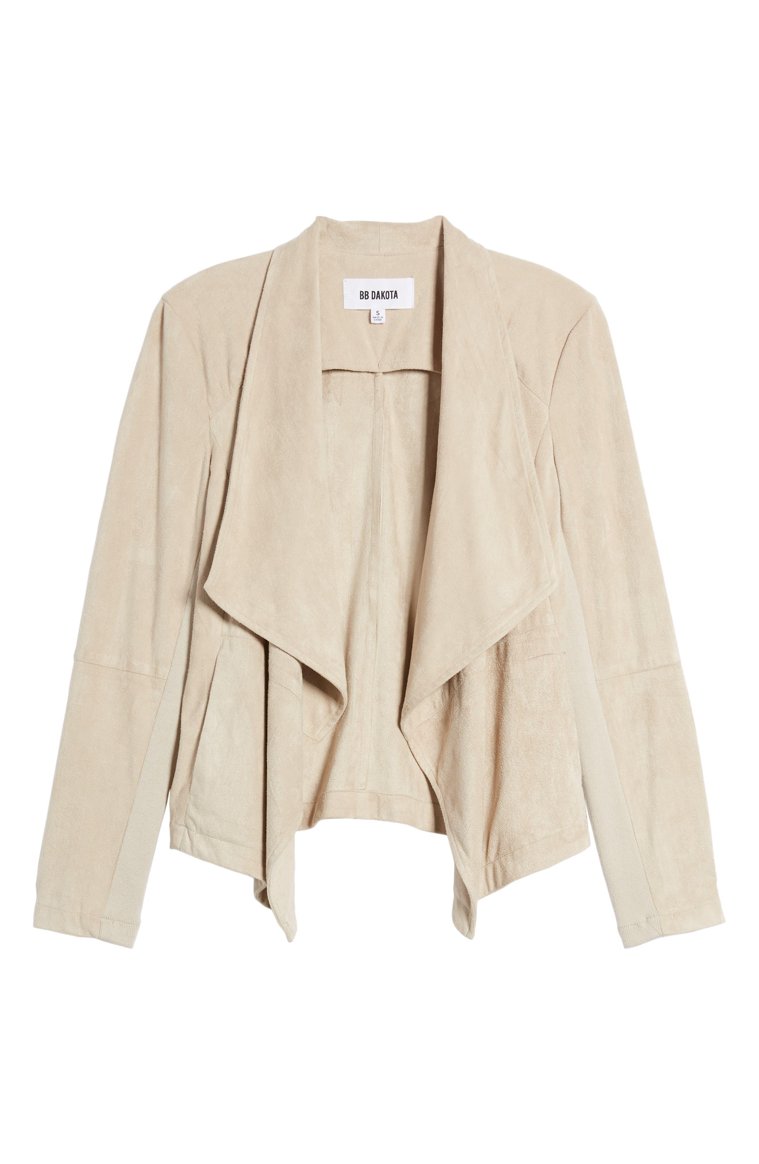 Nicholson Faux Suede Drape Front Jacket,                             Alternate thumbnail 6, color,                             BONE