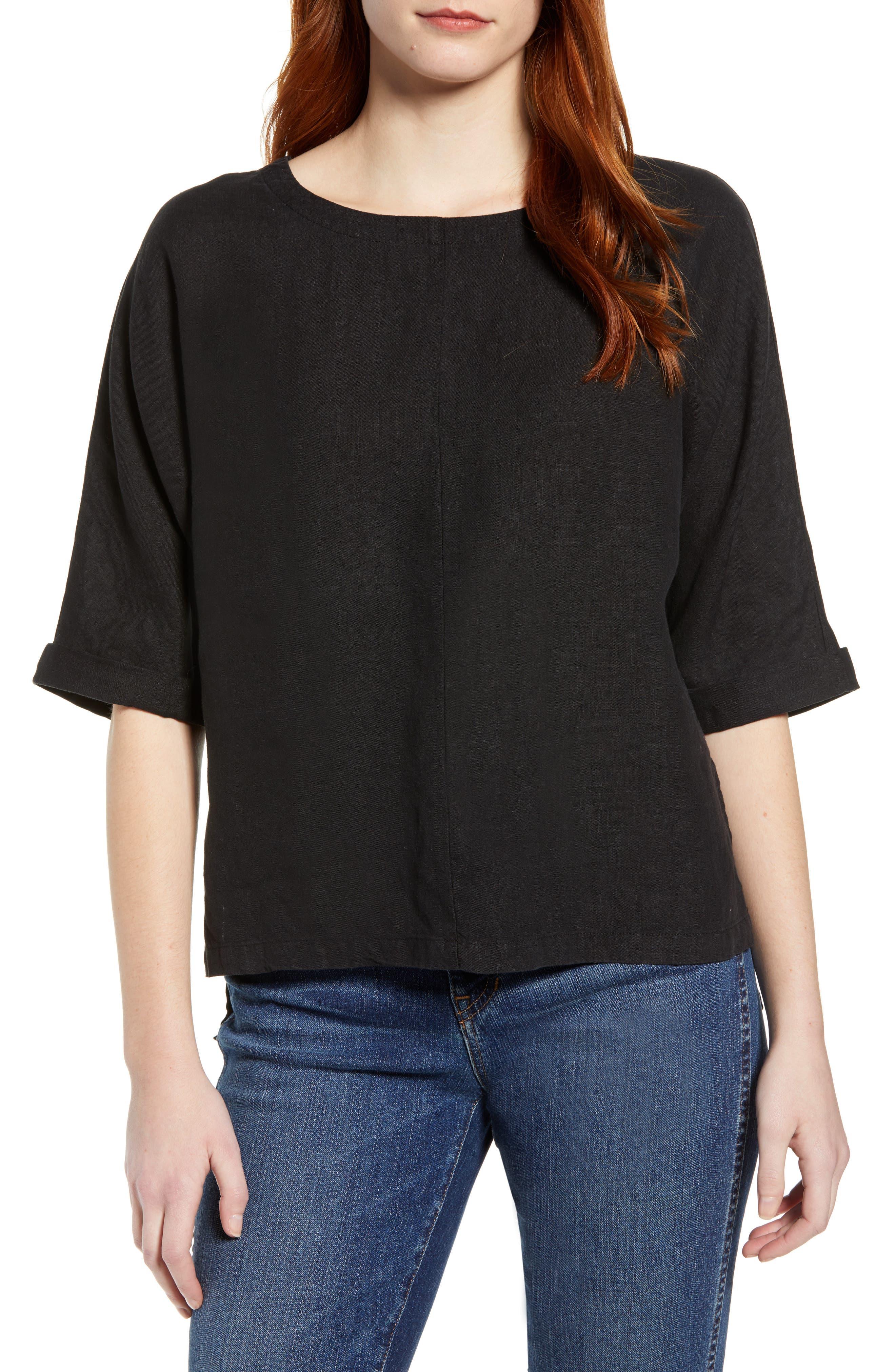 V-Back Linen Top,                         Main,                         color, 001