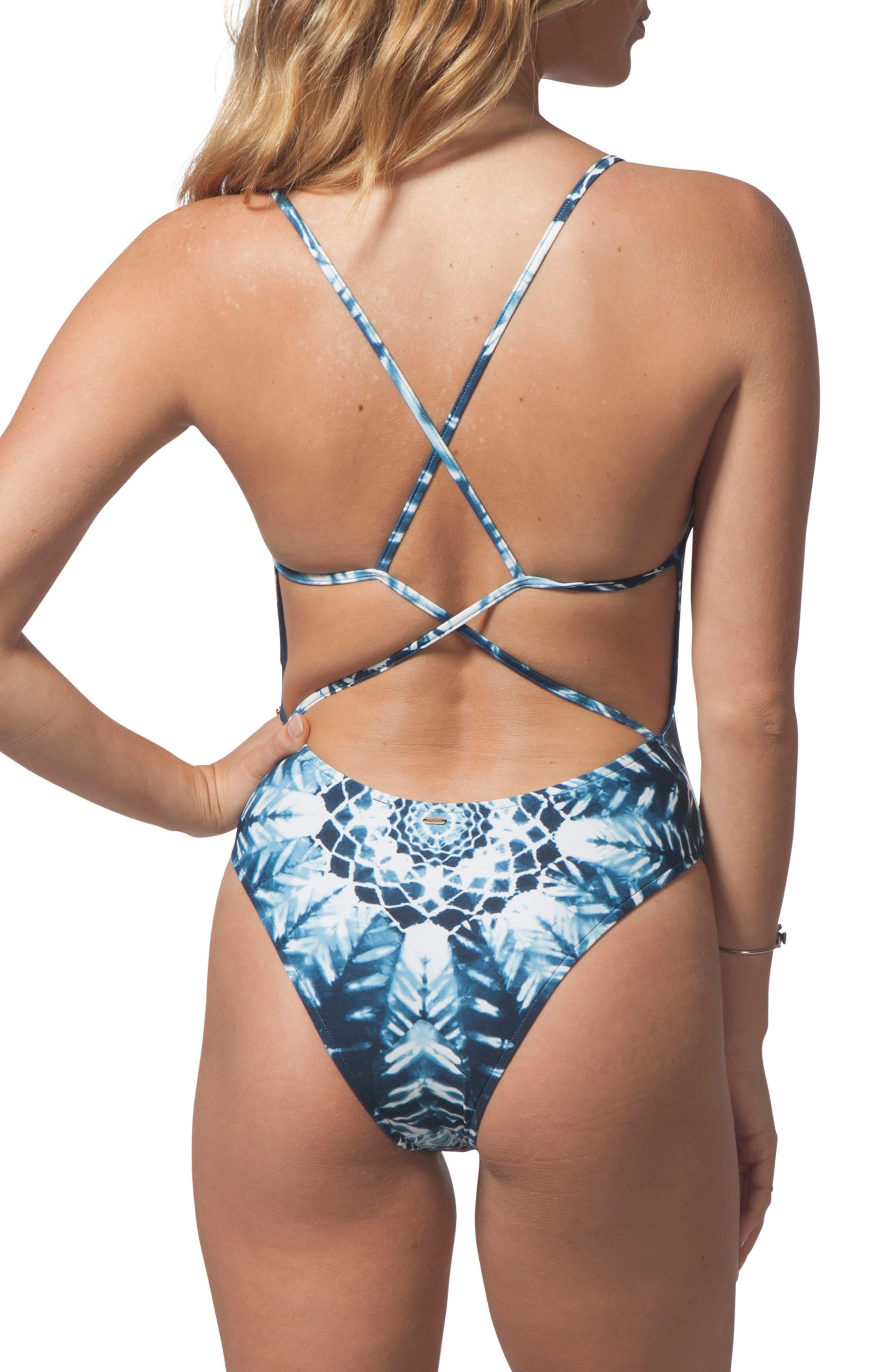 Calypso One-Piece Swimsuit,                             Alternate thumbnail 2, color,                             BLUE