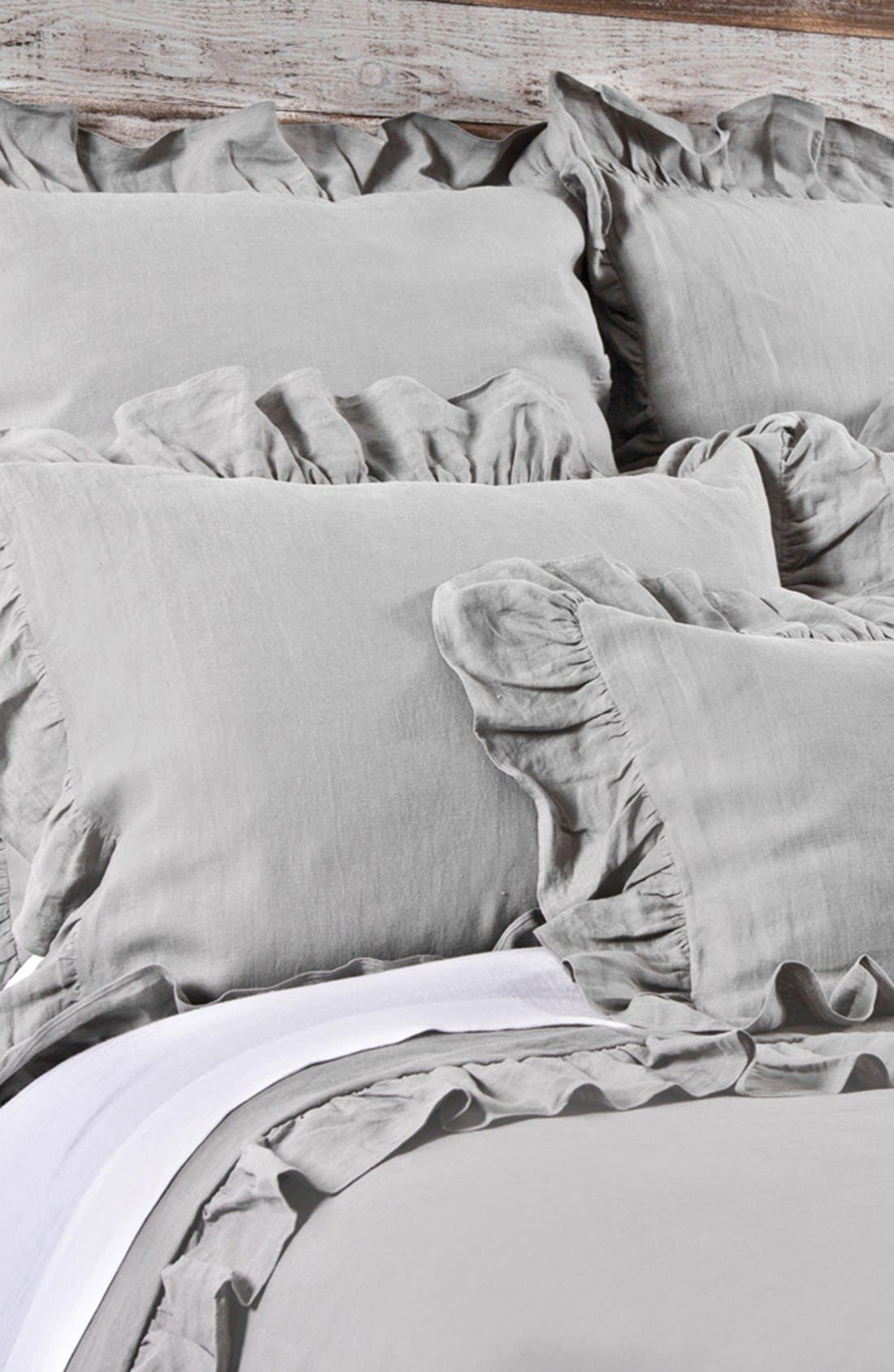 'Charlie' Linen Duvet Cover,                             Alternate thumbnail 3, color,                             SILVER