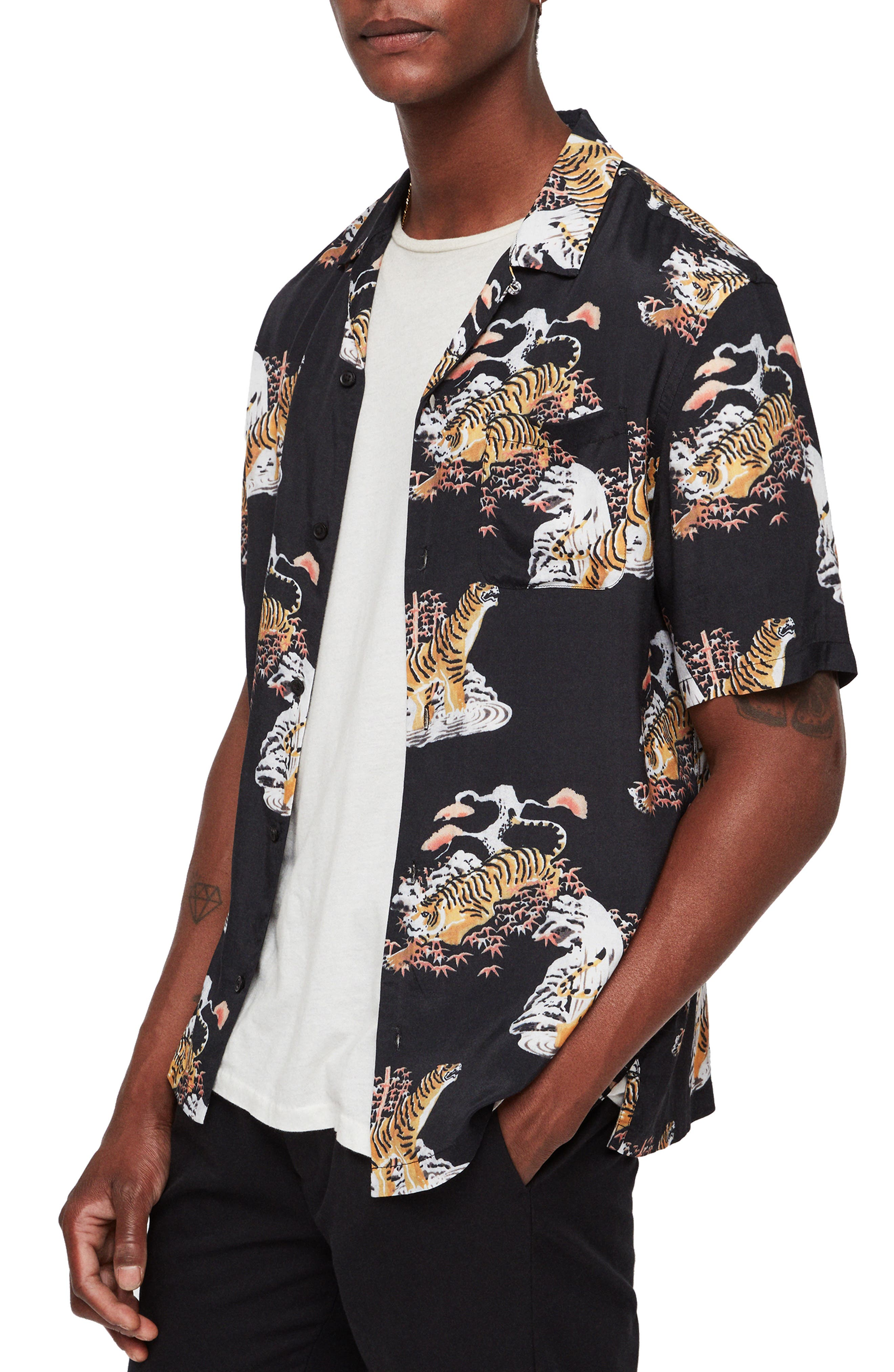 Kirshma Slim Fit Print Shirt,                             Alternate thumbnail 4, color,                             BLACK