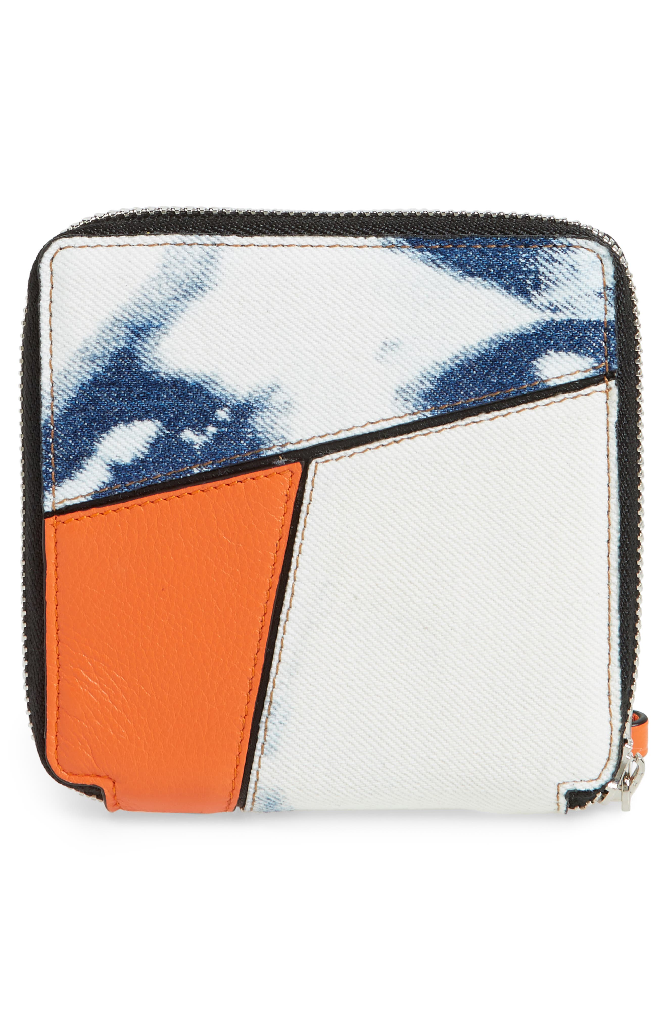 Small Puzzle Leather Zip Around French Wallet,                             Alternate thumbnail 4, color,                             001