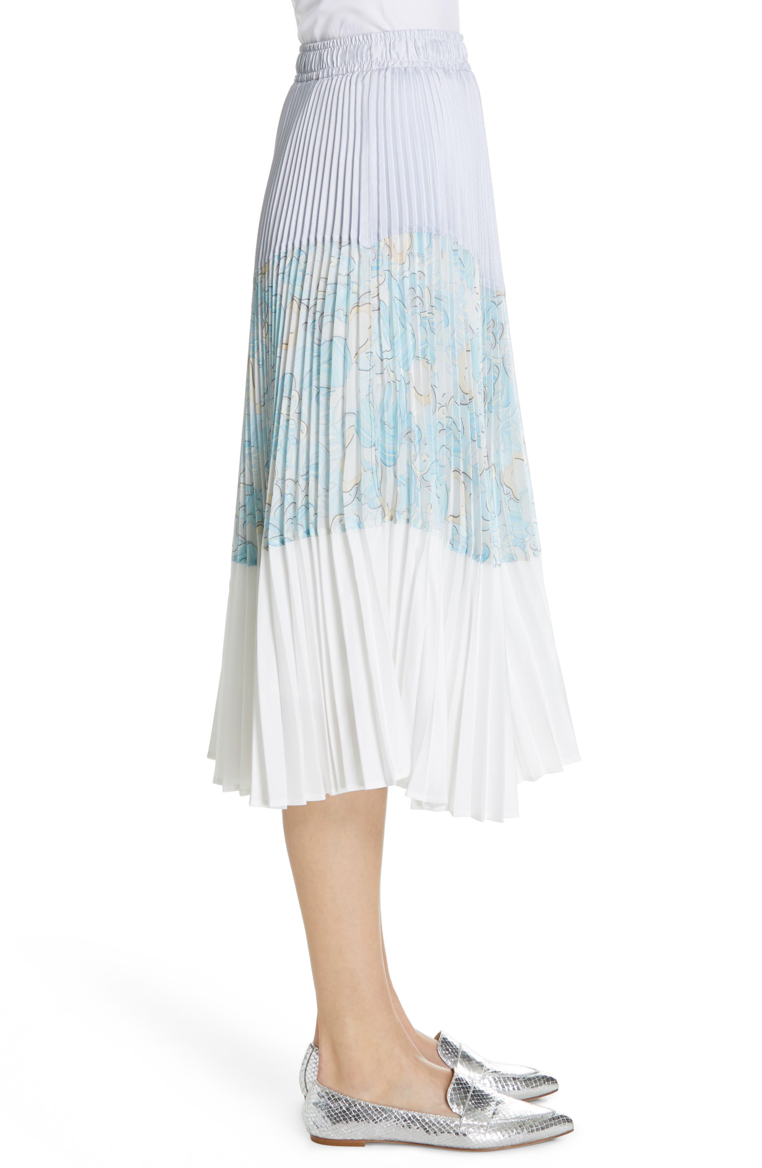 Floral Colorblock Pleated Skirt,                             Alternate thumbnail 3, color,                             BLUE