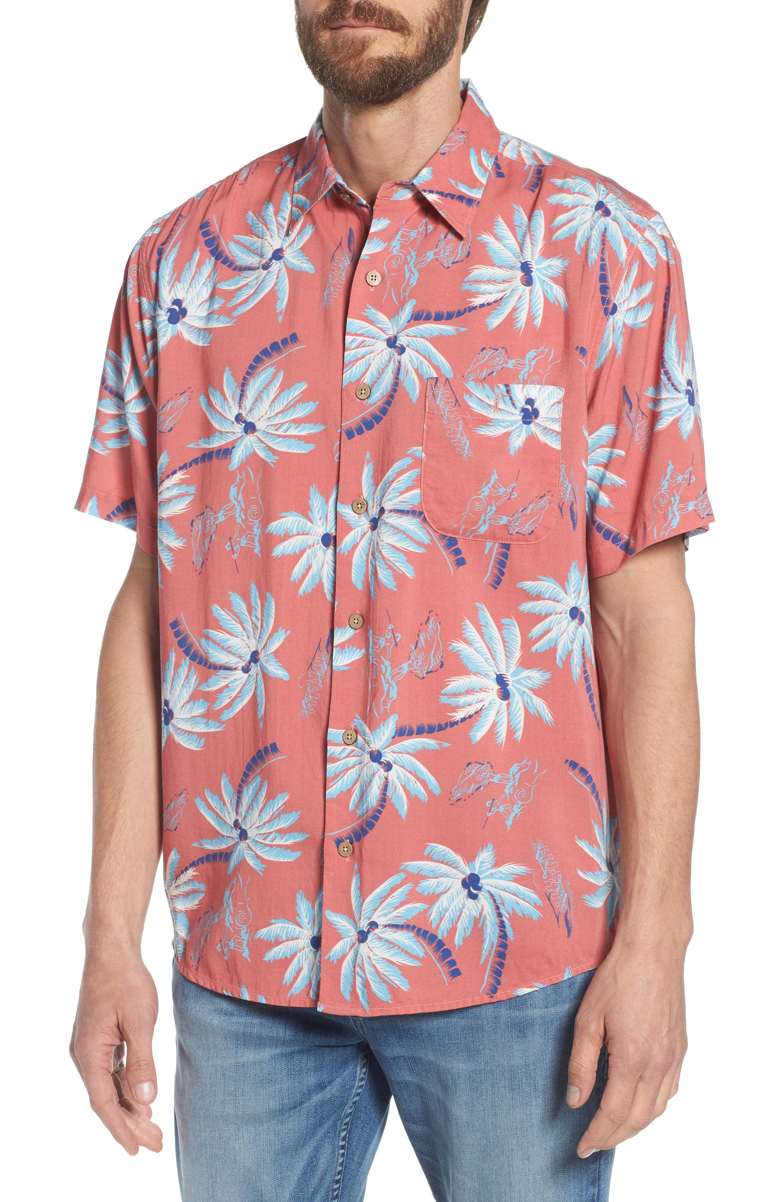 Hawaiian Print Sport Shirt,                             Main thumbnail 1, color,                             RED PALM HAWAIIAN