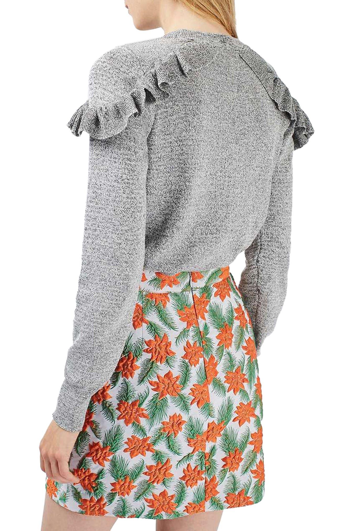 Ruffle Shoulder Sweater,                             Alternate thumbnail 3, color,                             020
